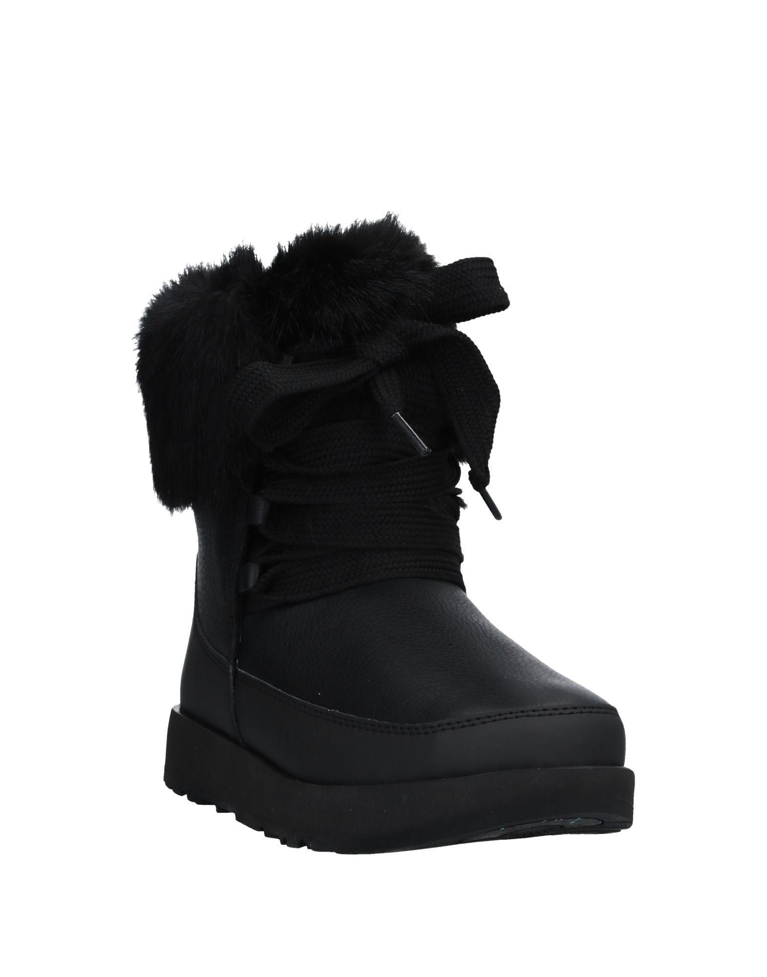 Ugg Australia Black Leather Lace Up Boots