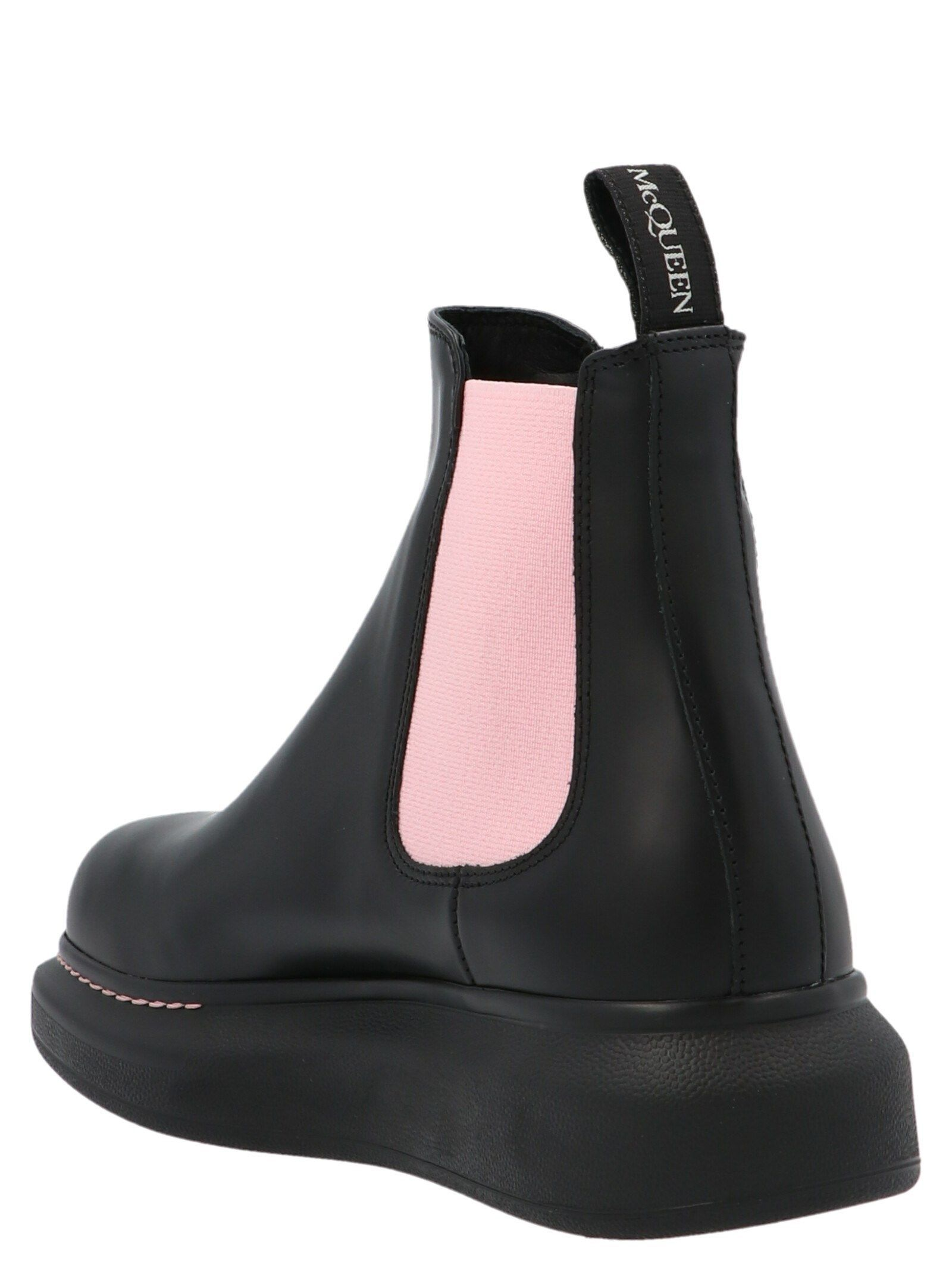 ALEXANDER MCQUEEN WOMEN'S 586398WHX521123 BLACK LEATHER ANKLE BOOTS