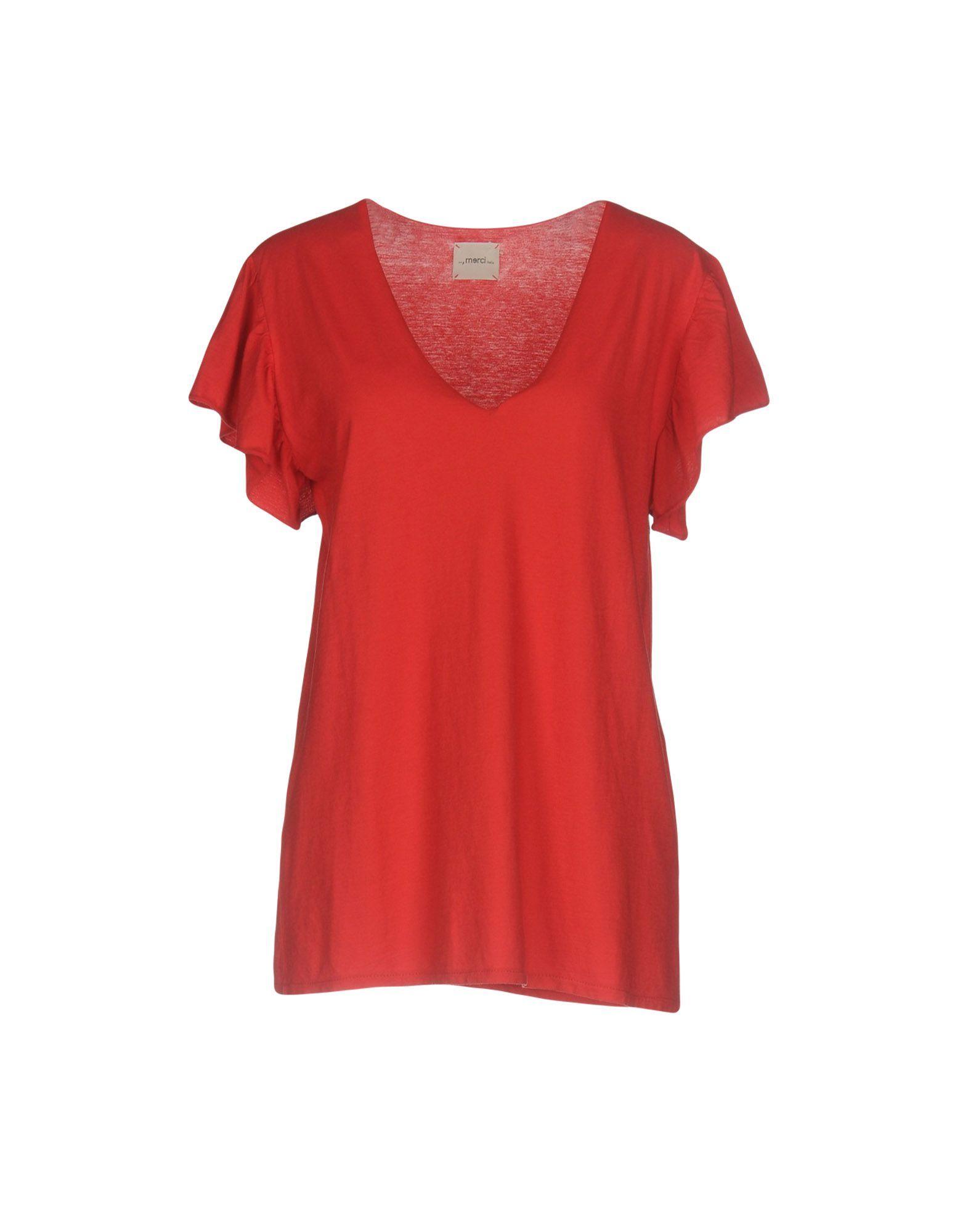 Merci Red Cotton T-Shirt