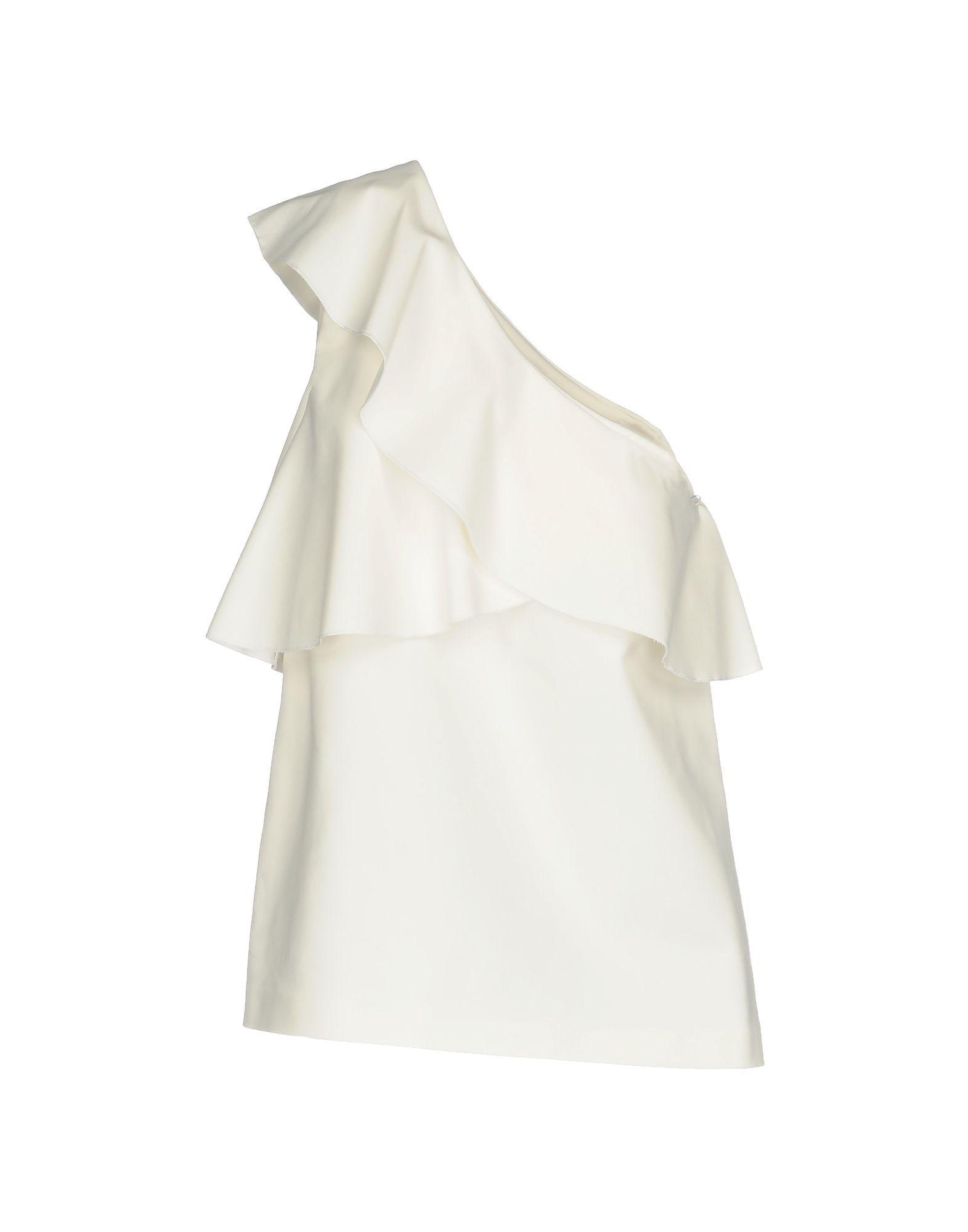 Pinko White Cotton Asymmetrical Top