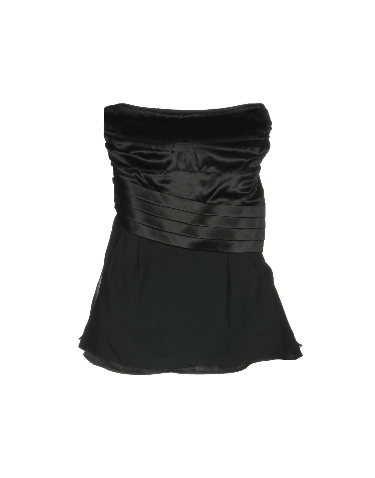 Patrizia Pepe Black Silk Strapless Top