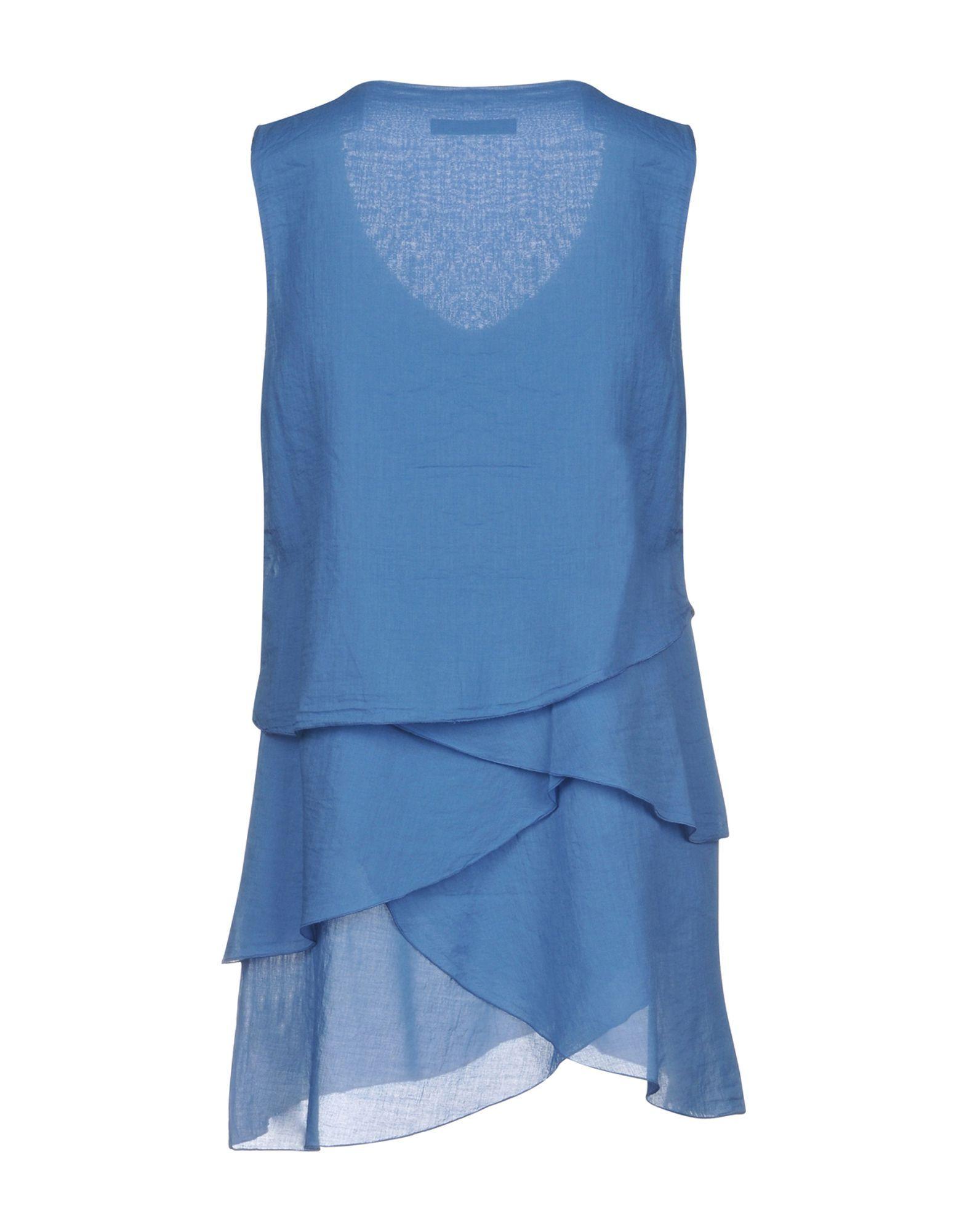 European Culture Pastel Blue Cotton Blouse