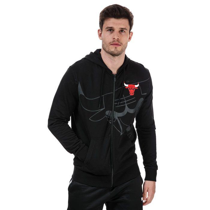 Men's New Era Big Logo Chicago Bulls Zip Hoodie in Black