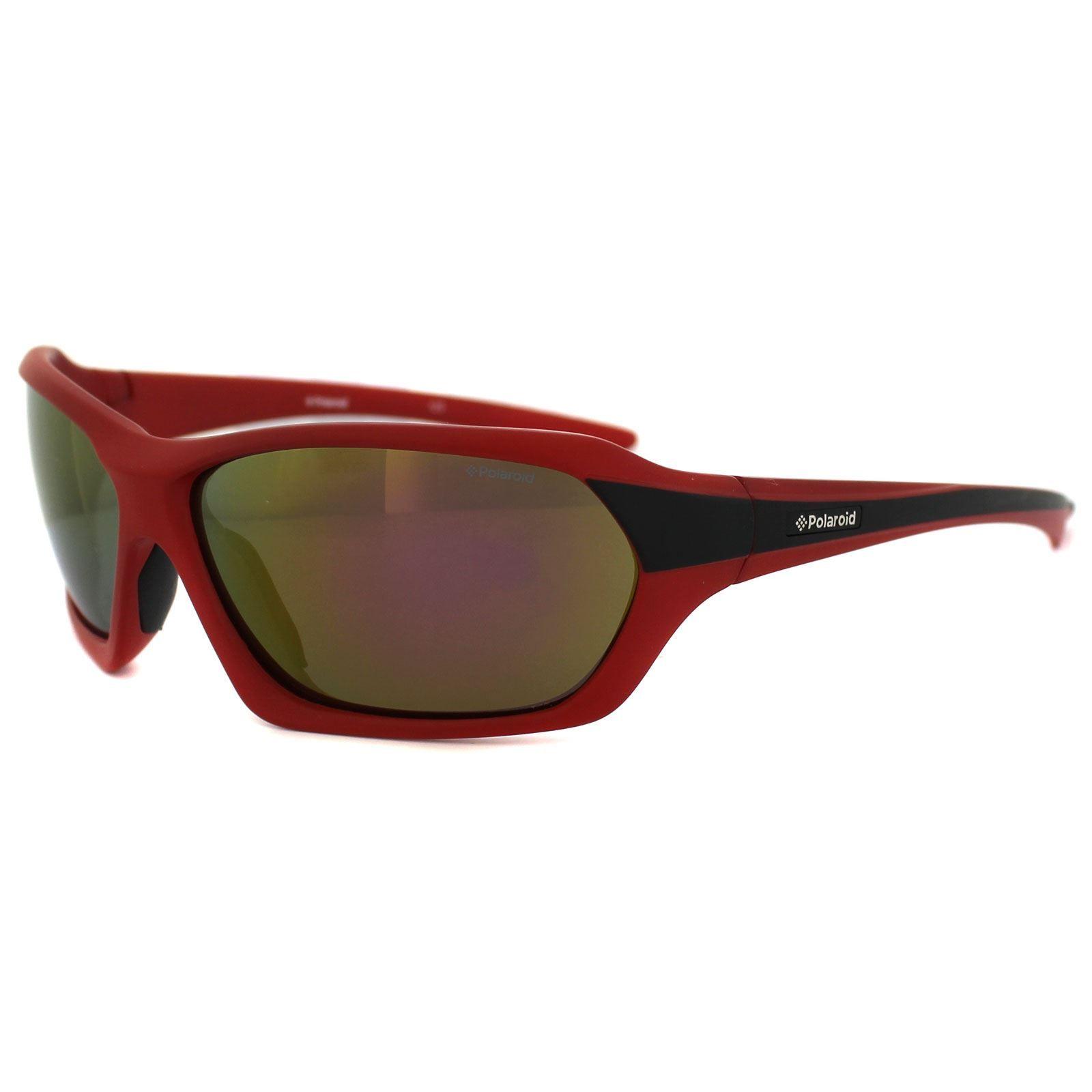 Polaroid Sport Sunglasses P7402 0A4 JB Red & Black Yellow Red Polarized
