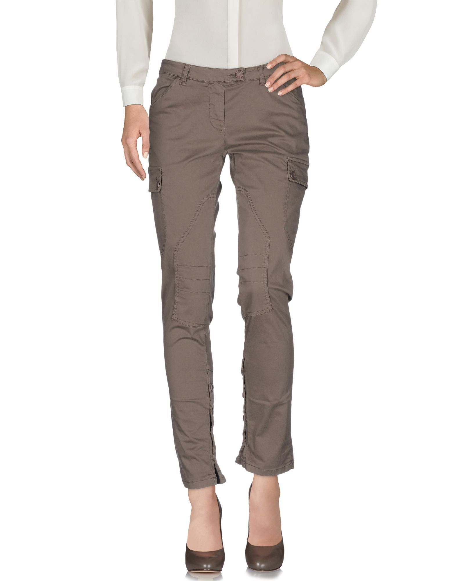 Scee By Twinset Khaki Cotton Tapered Leg Trousers