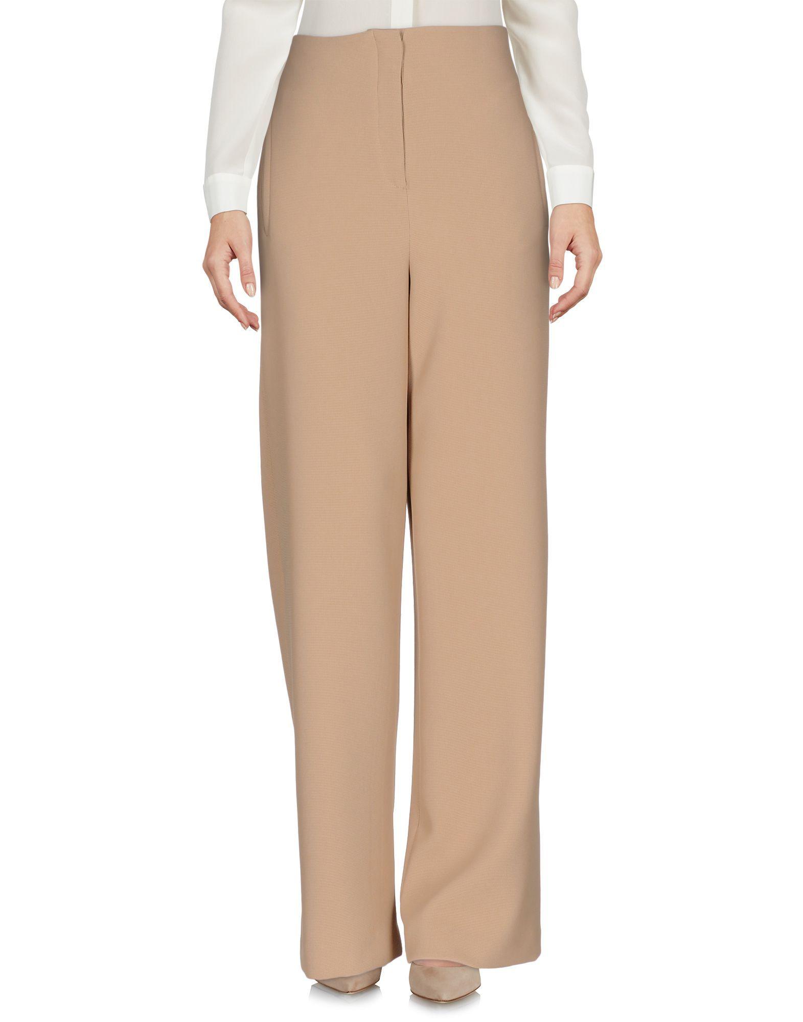 Nanushka Sand High Waisted Wide Leg Trousers
