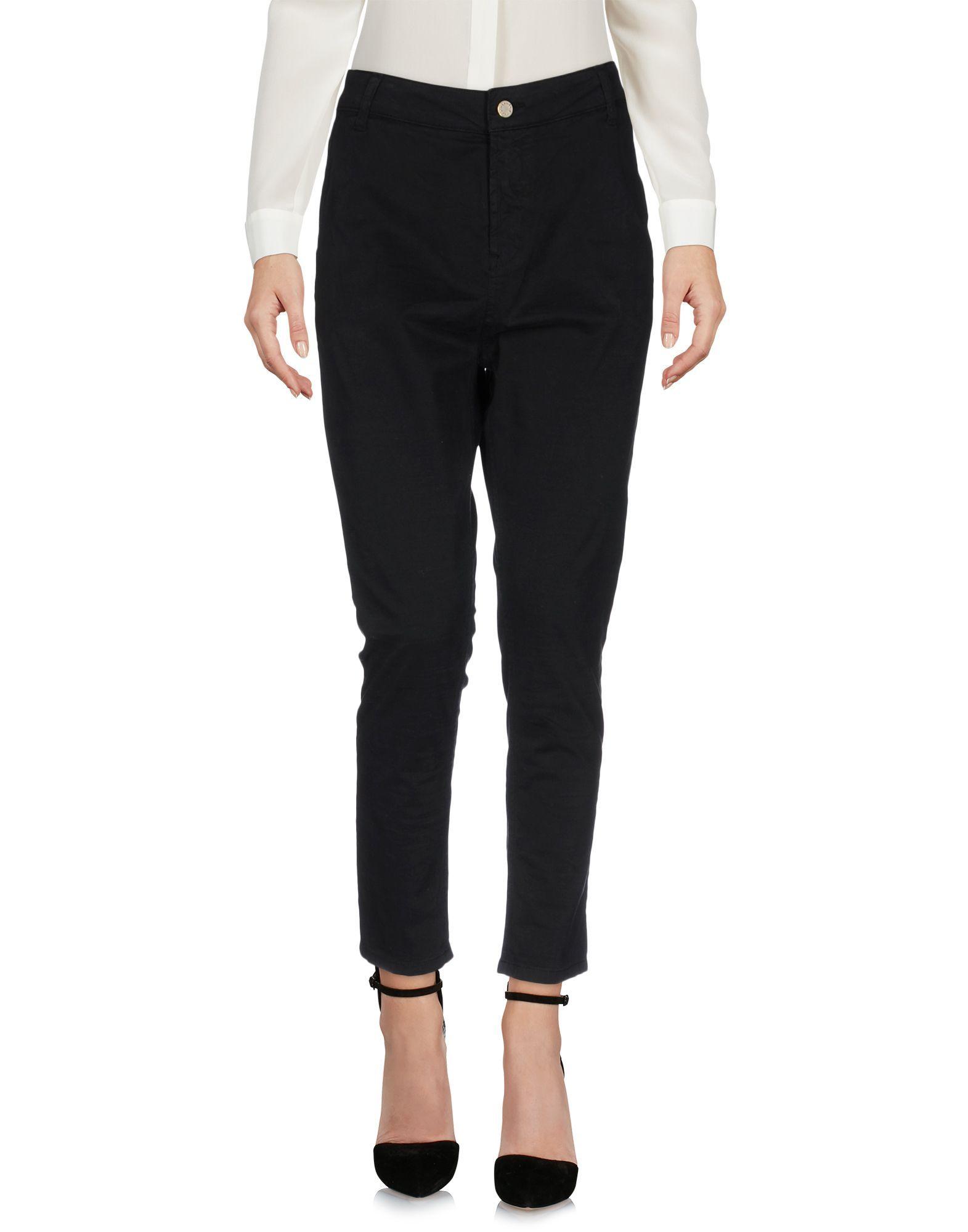 Manila Grace Black Cotton Trousers