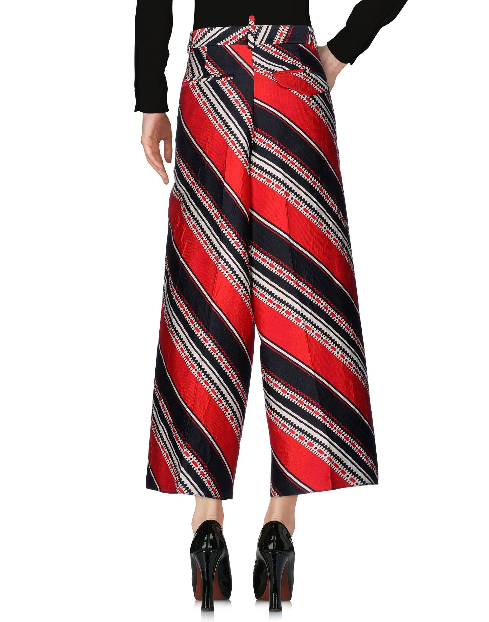Dsquared2 Red Stripe Wool High Waisted Wide Leg Trousers