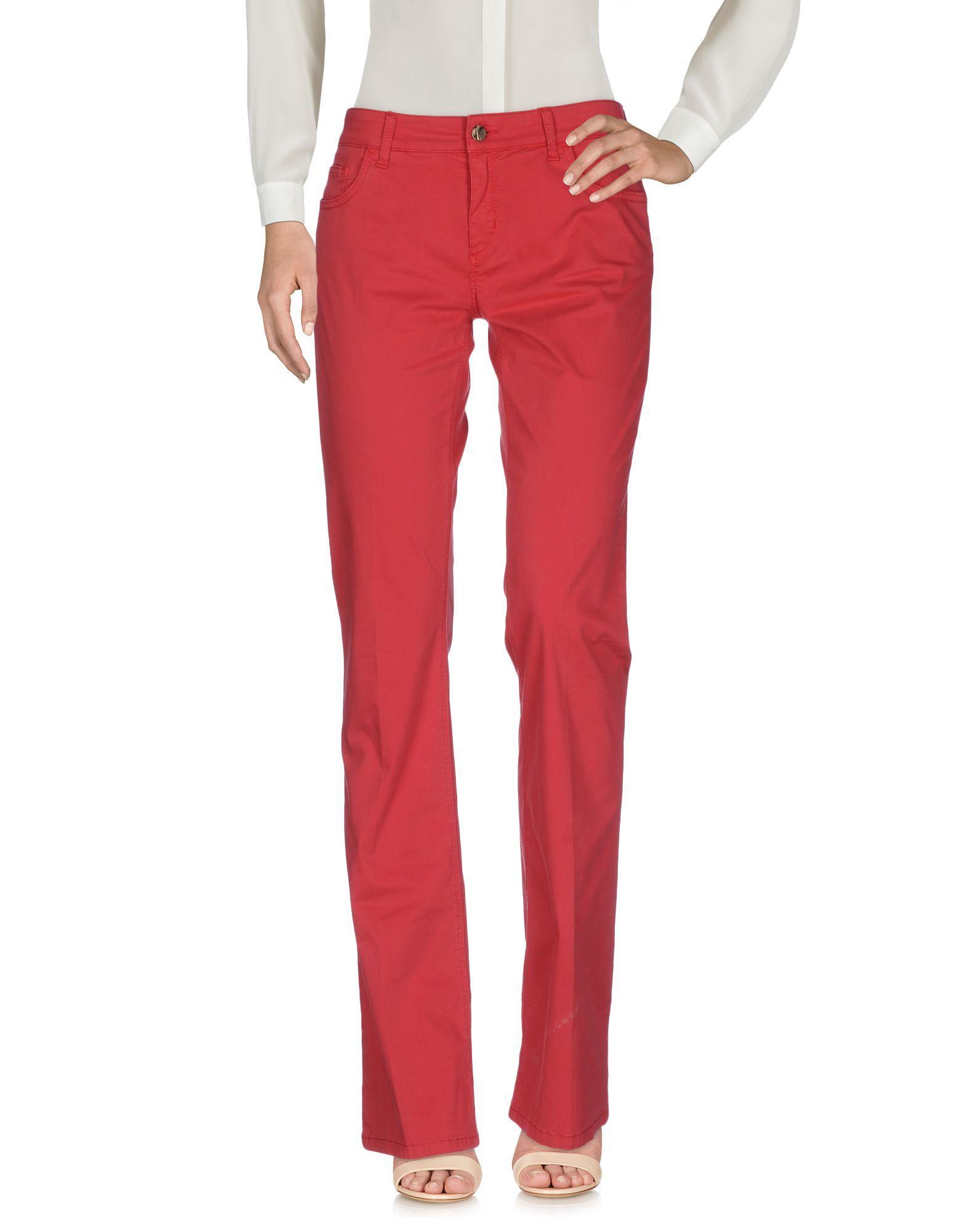 Manila Grace Denim Red Cotton Flare Trousers
