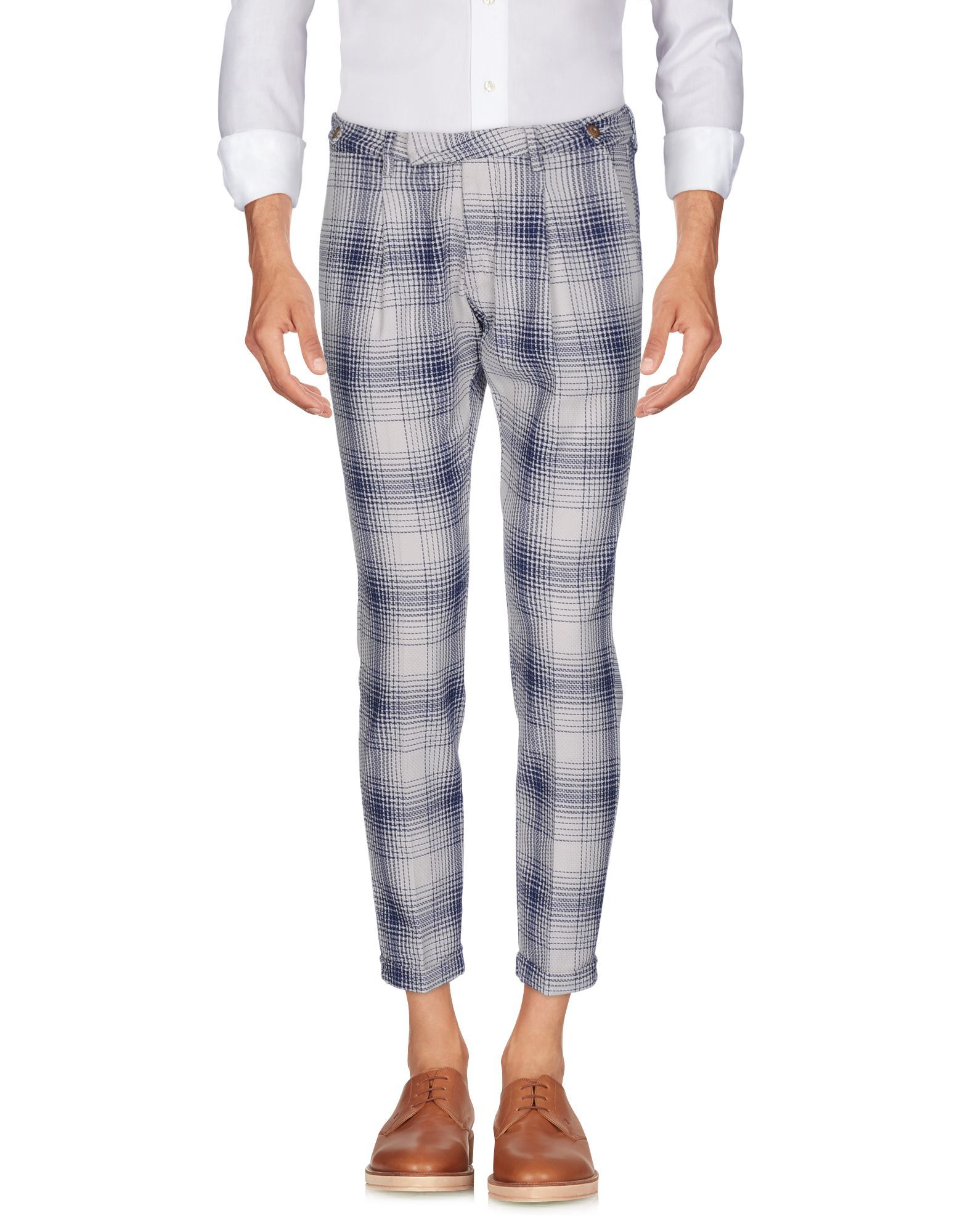 Michael Coal Blue Tweed Cotton Tapered Leg Chino Trousers