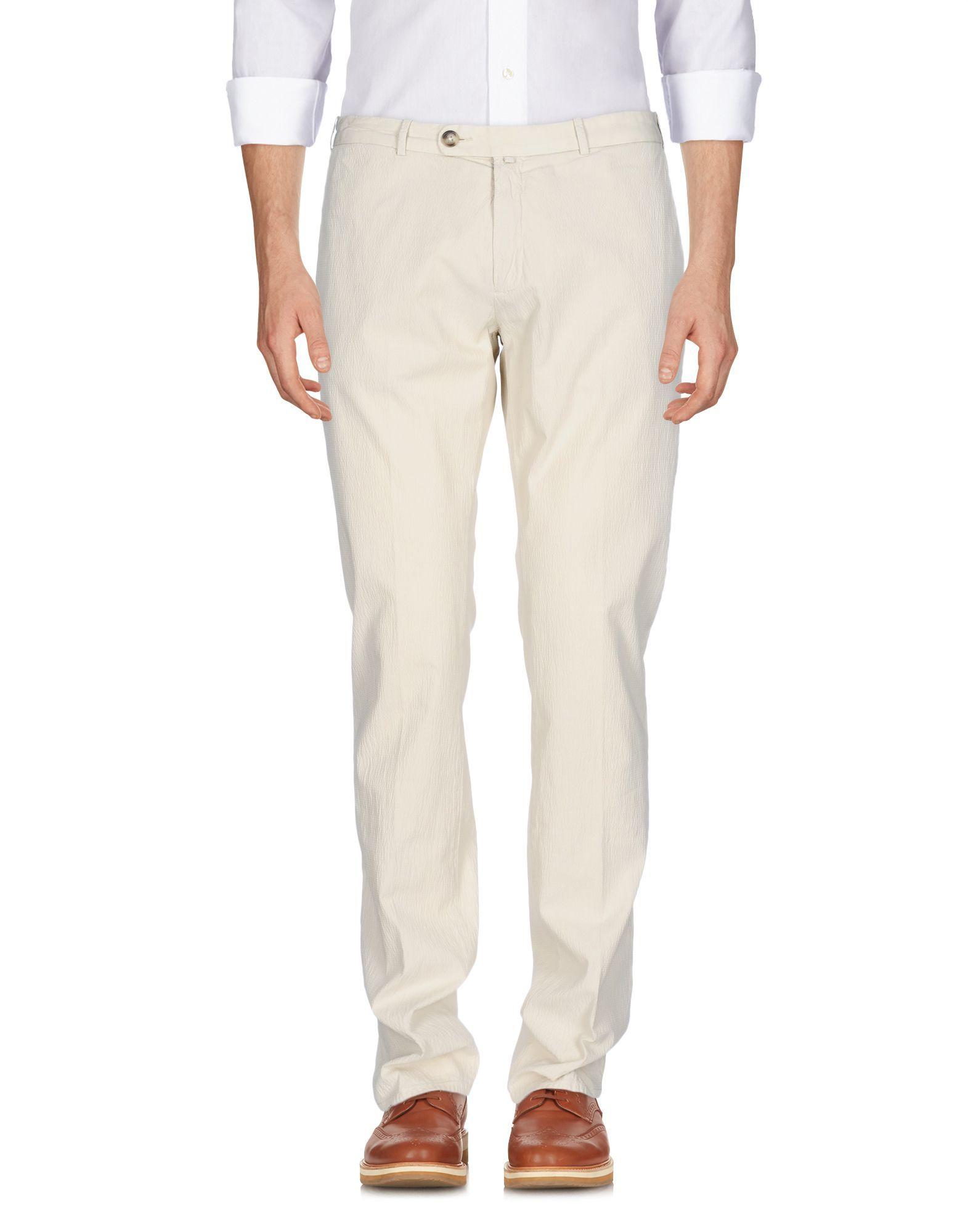 Luigi Borrelli Napoli Ivory Cotton Tapered Leg Trousers