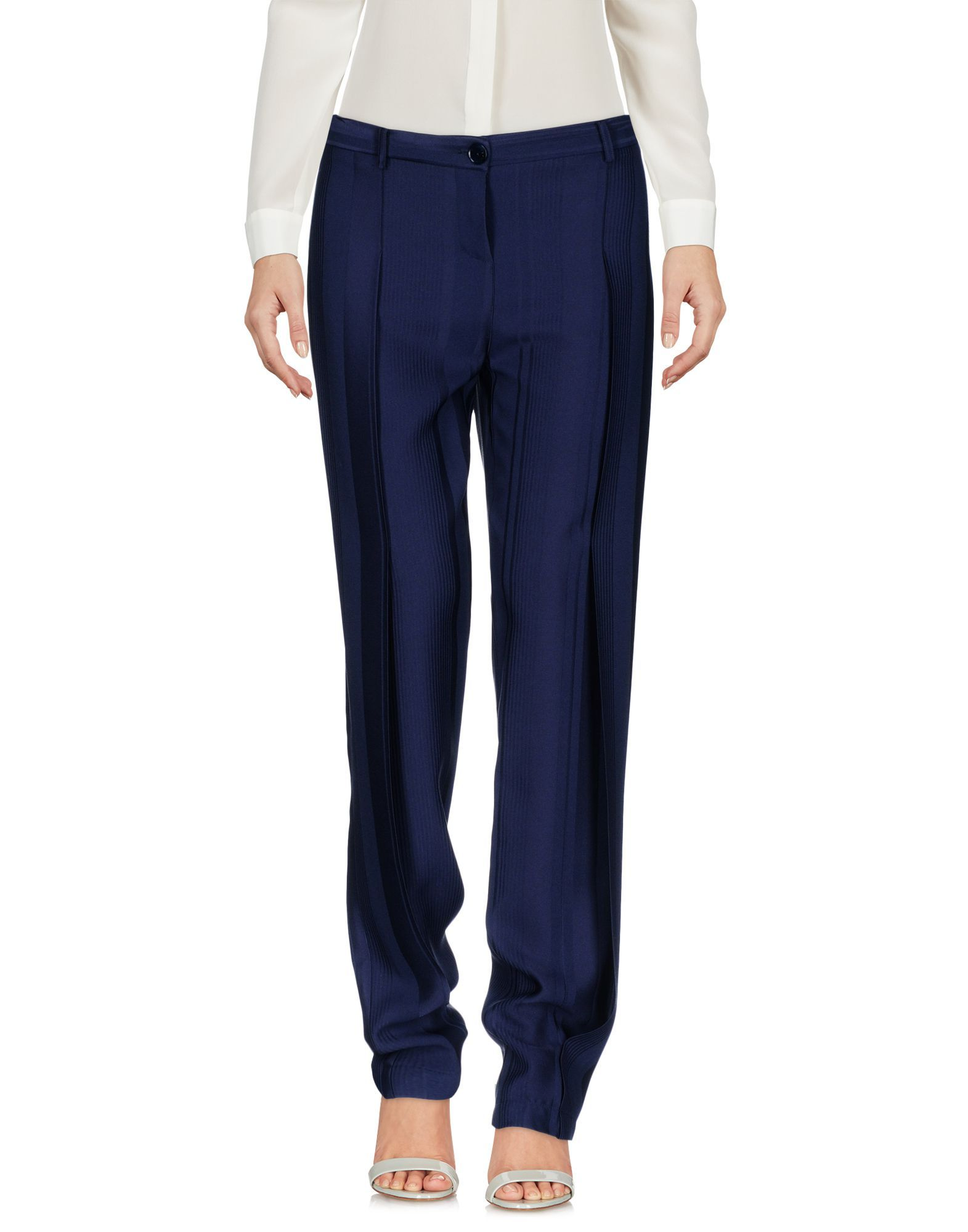 Patrizia Pepe Dark Blue Crepe Straight Leg Tailored Trousers