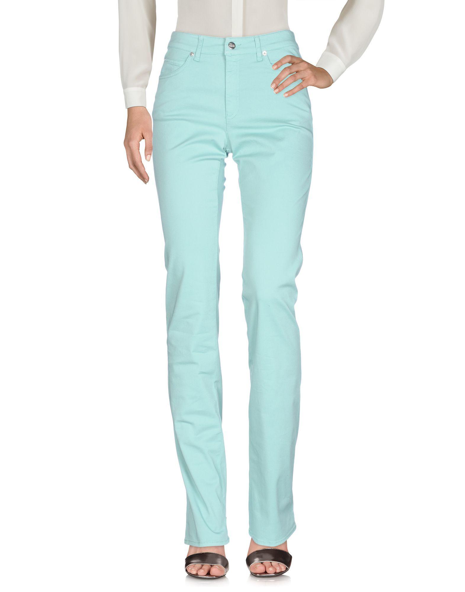 Armani Collezioni Light Green Cotton Straight Leg Trousers