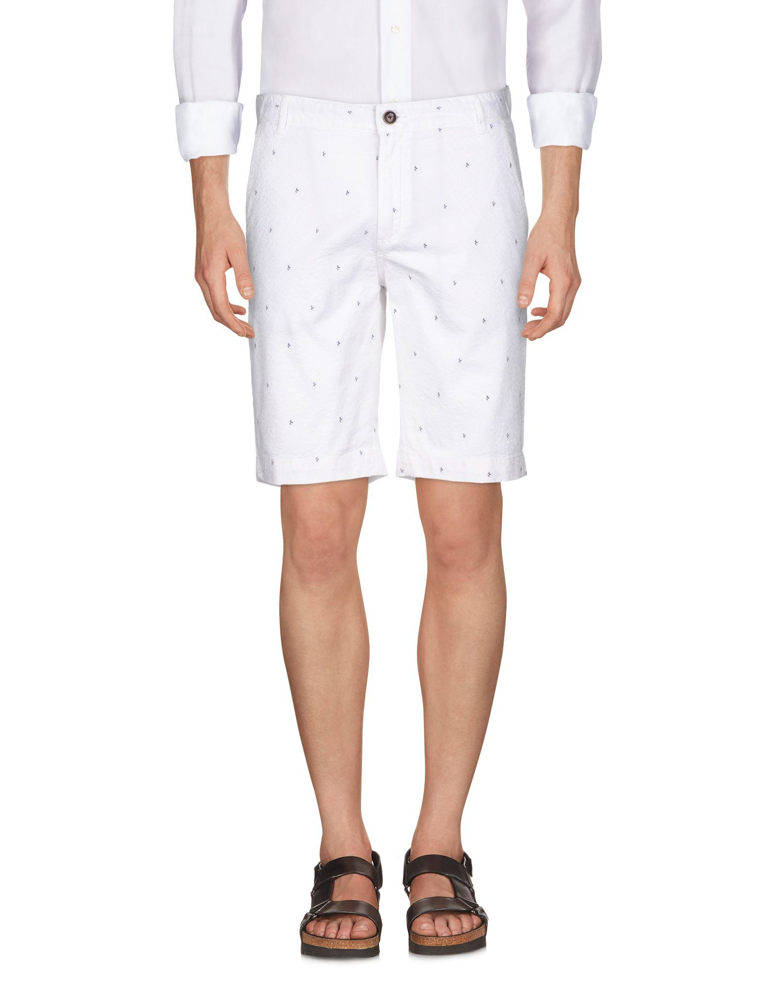 Yes Zee By Essenza White Cotton Shorts