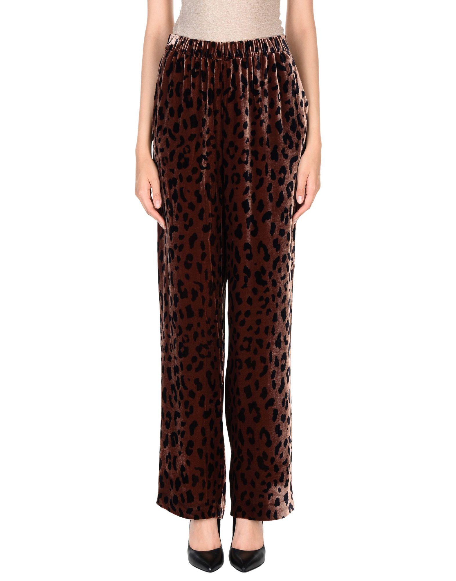 Tibi Dark Brown Leopard Print Velvet Trousers