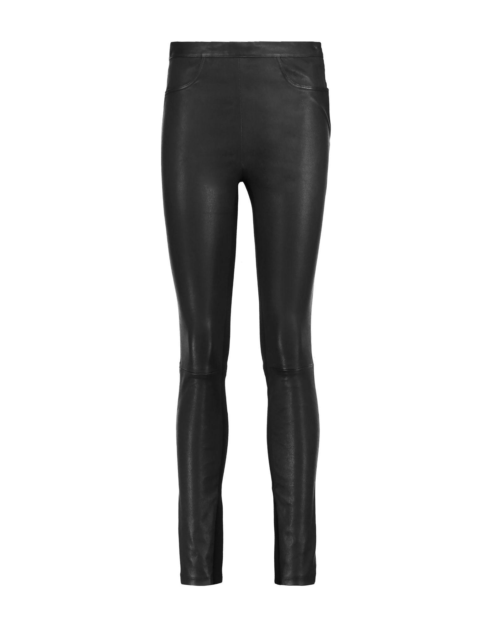 Maje Black Lambskin Leather Trousers
