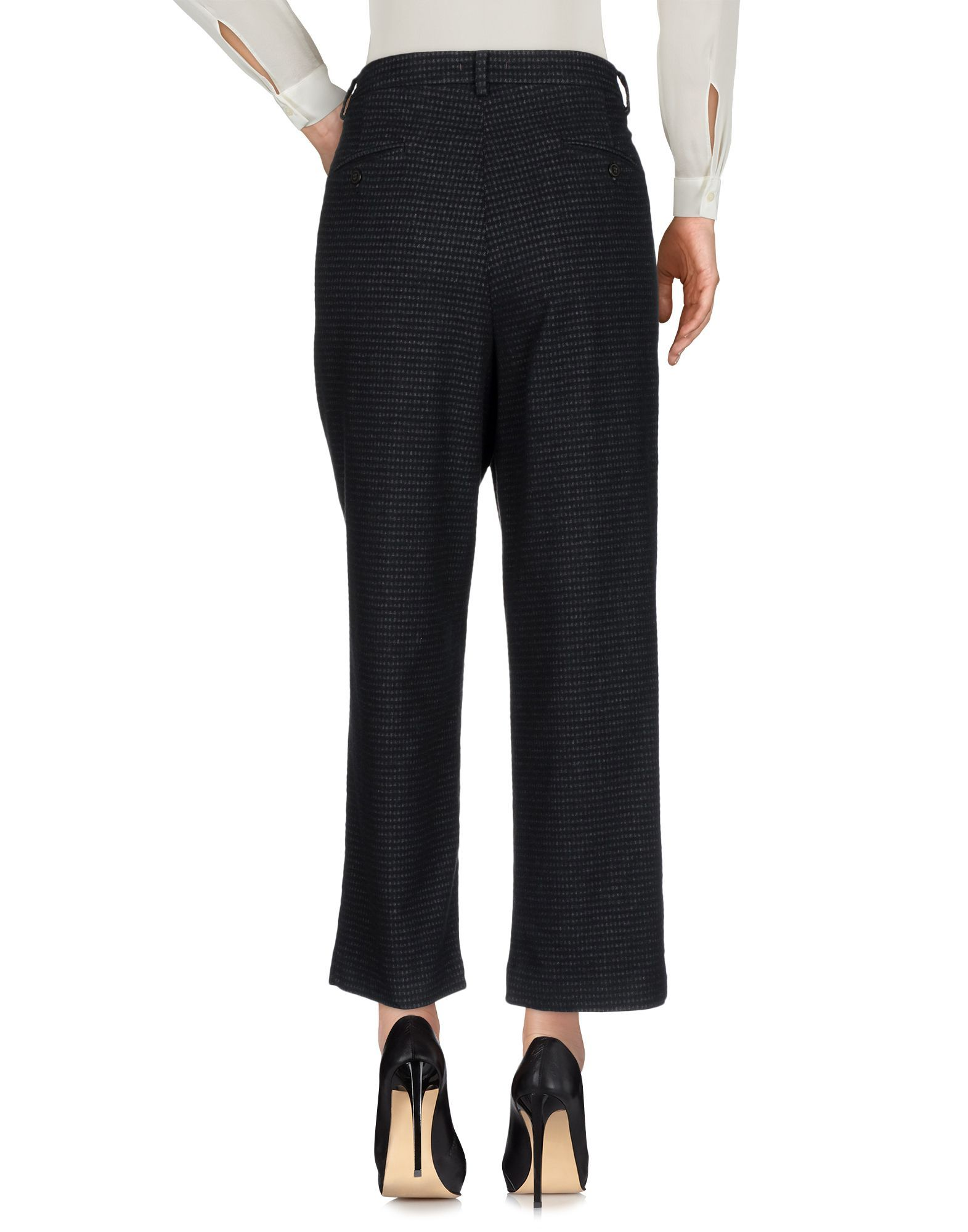 True Nyc� Black Cotton Cropped Trousers