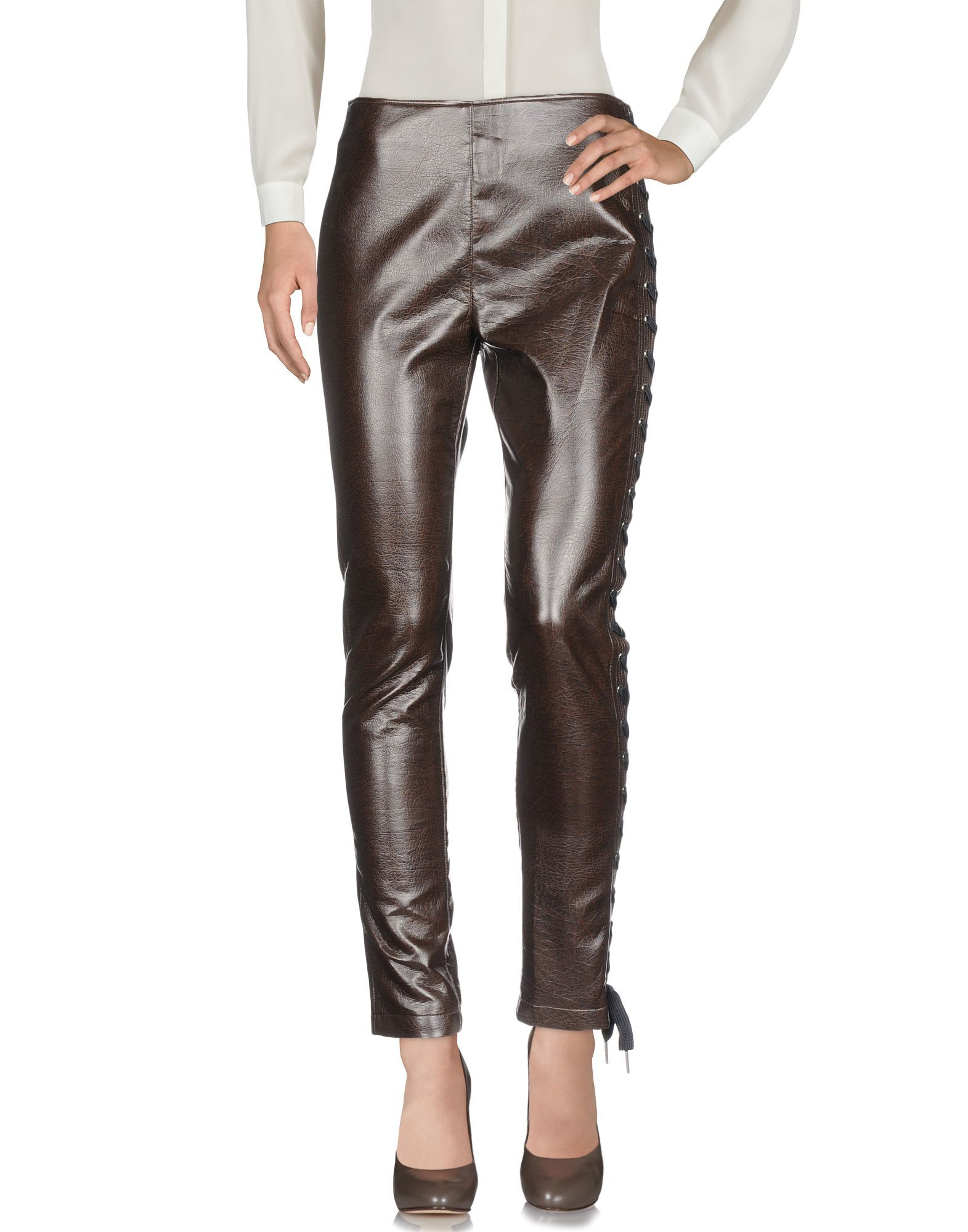 Pinko Dark Brown Faux Leather Trousers