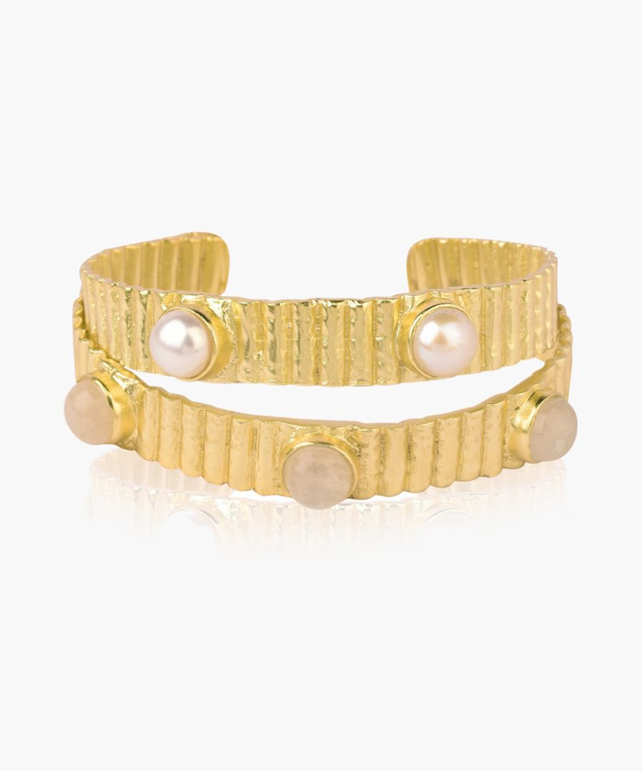 Kanupriya Nora 18k gold-plated pearl cuff Bangles white, gold