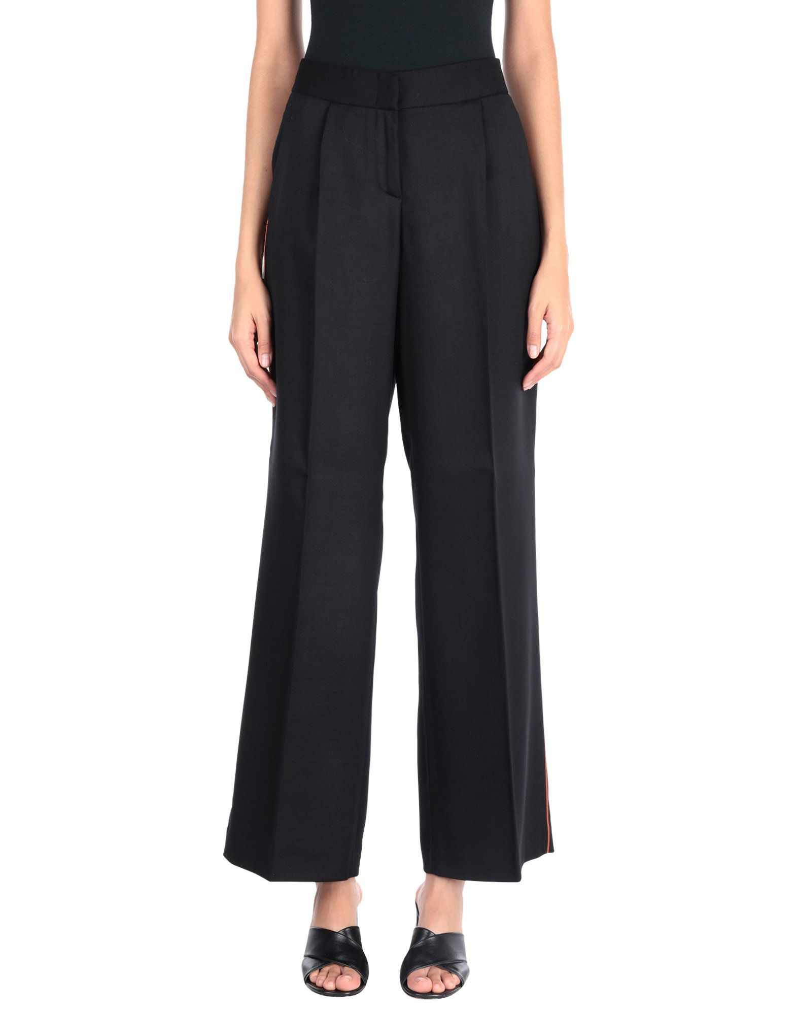 Tonello Black Virgin Wool Tailored Wide Leg Trousers