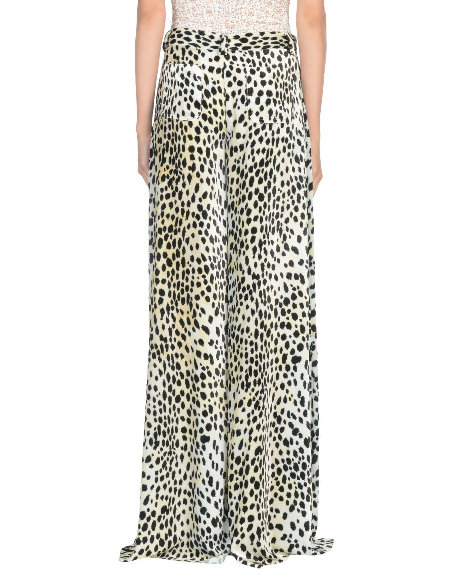 Roberto Cavalli Beige Print Wide Leg Trousers