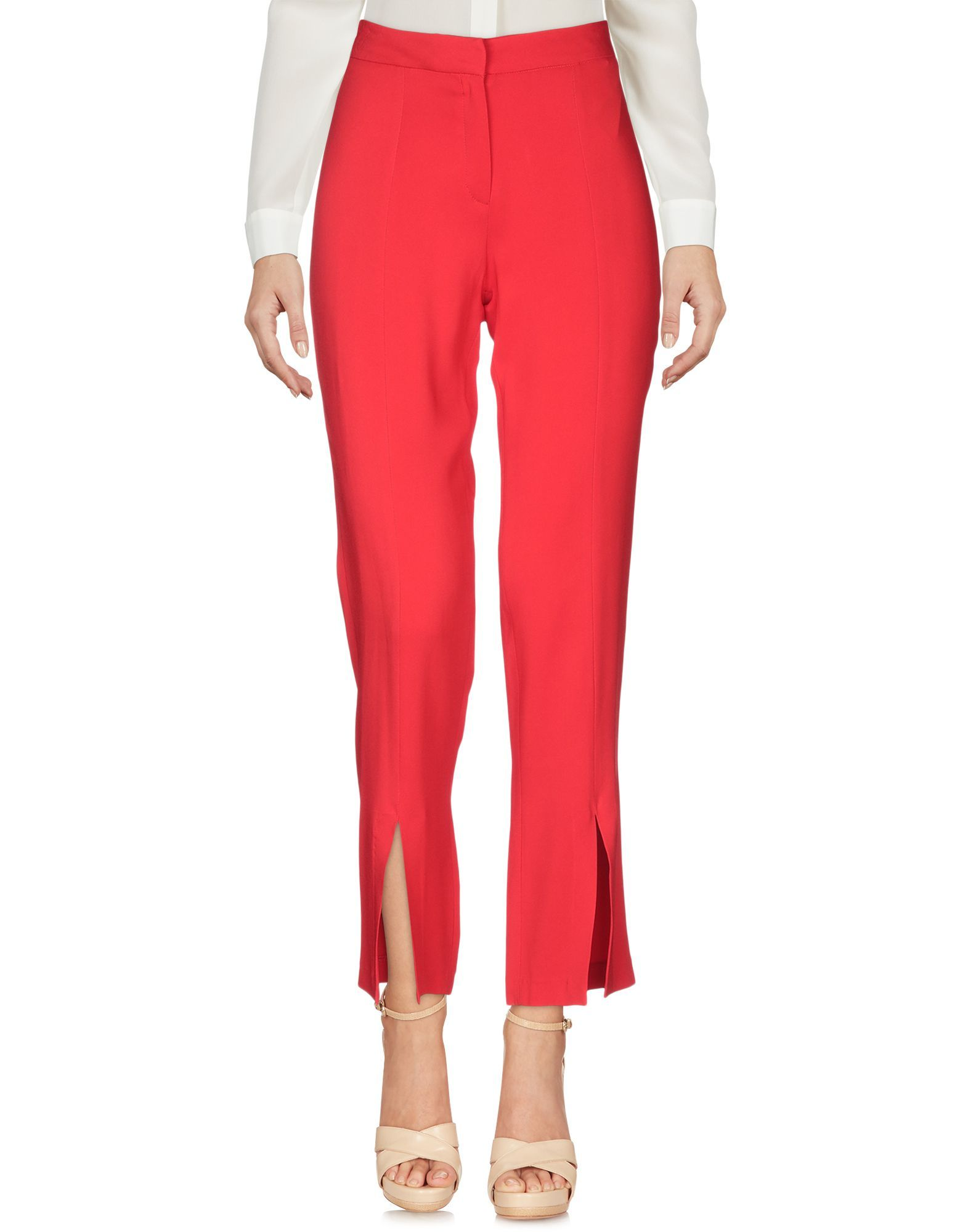 Federica Tosi Red Crepe Tapered Leg Trousers