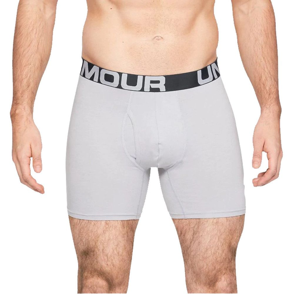 Under Armour Mens Charged Cotton 6in 3 Pack Boxer Shorts
