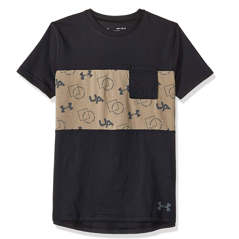 Under Armour Sportstyle Pocket Kids T-Shirt Black/Khaki - YXS