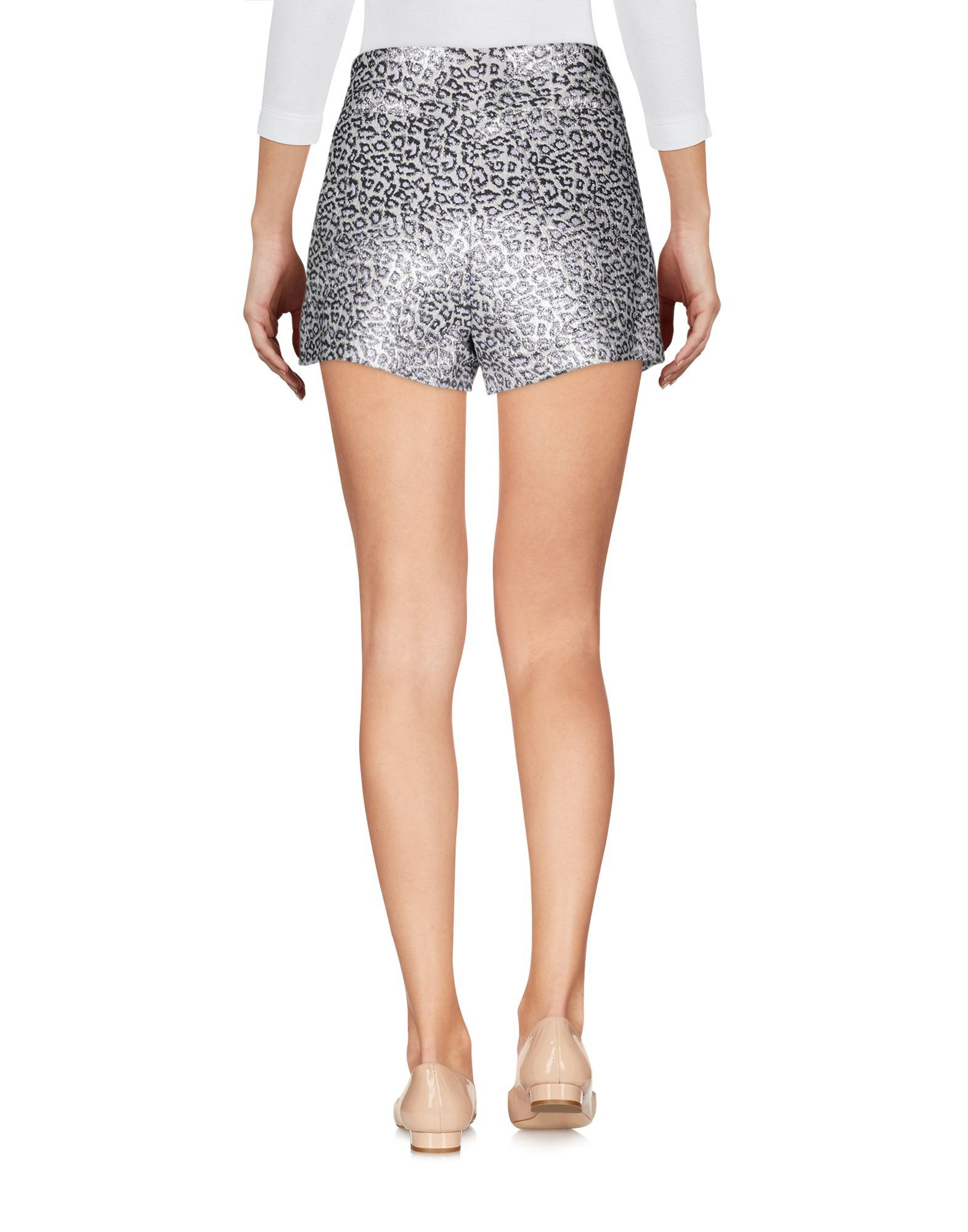 Giamba Ivory Jacquard Leopard Print High Waisted Shorts