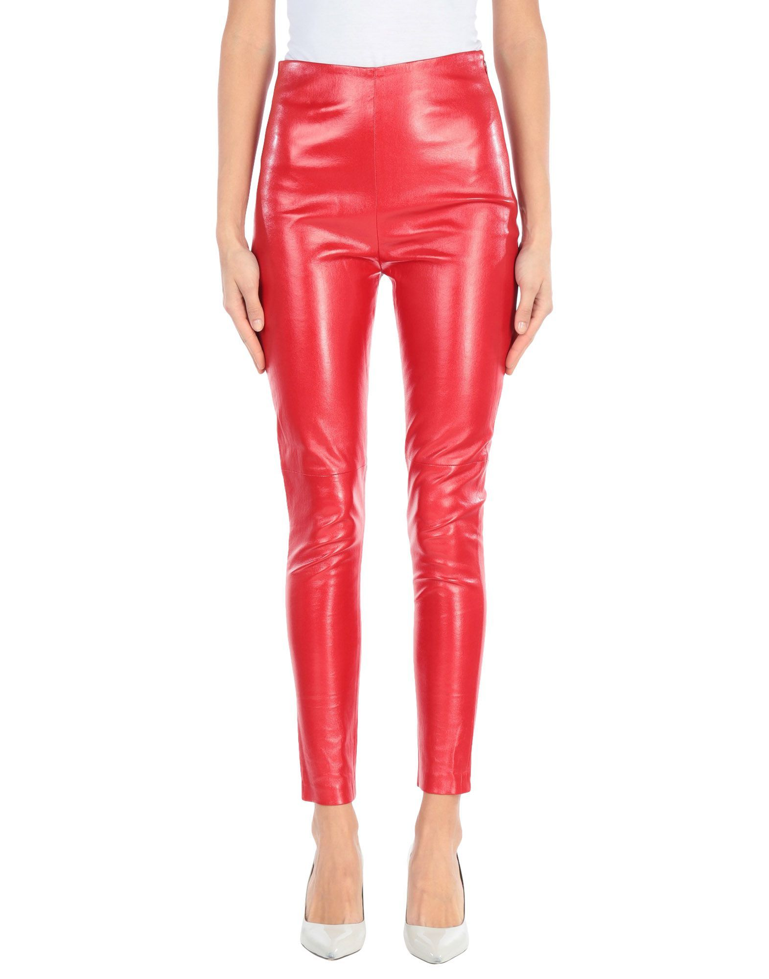 Iro Red Lambskin Leather Trousers