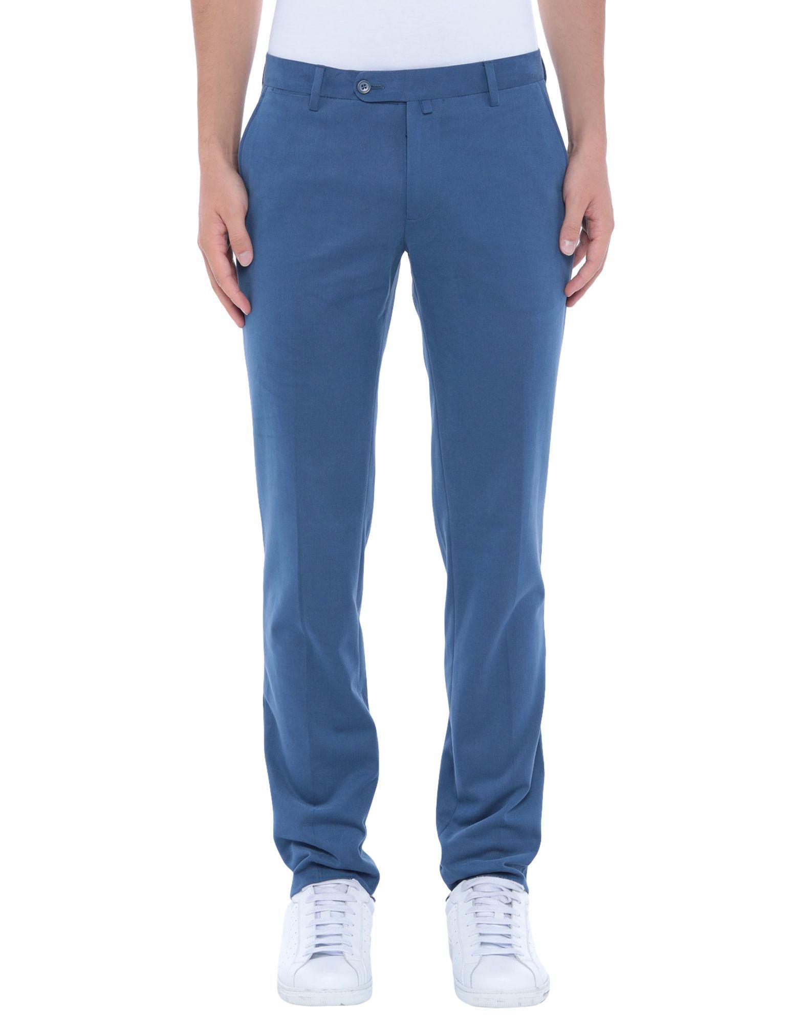 Luigi Borrelli Napoli Slate Blue Cotton Trousers