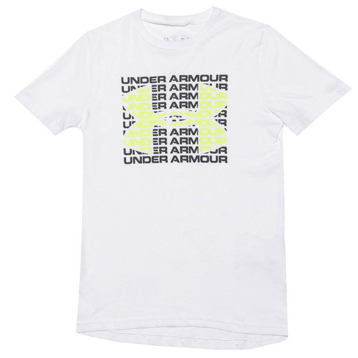 Boy's Under Armour Junior Wordmark T-Shirt in White