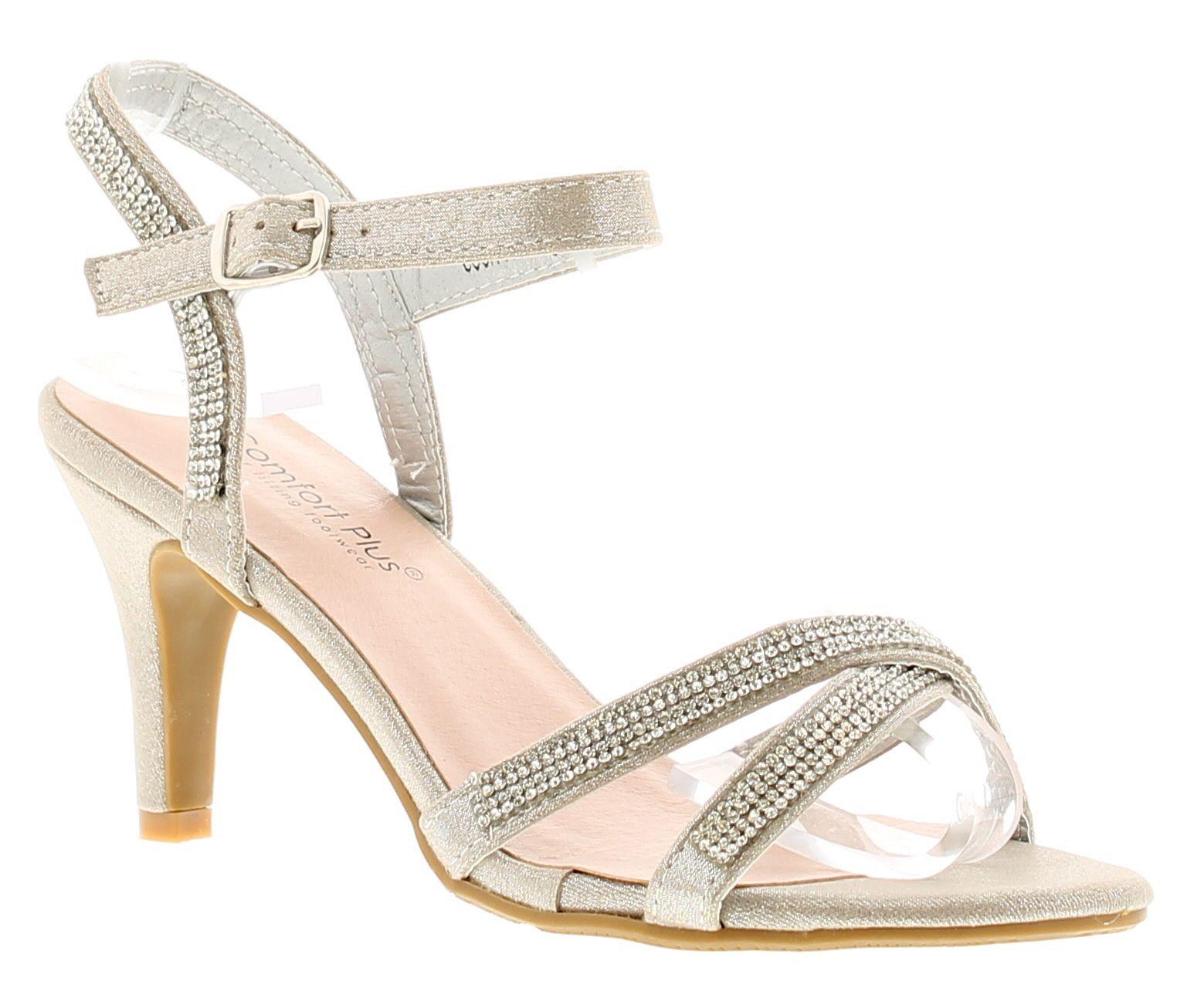 Comfort Plus Charlotte Womens Ladies Heeled Sandals Silver