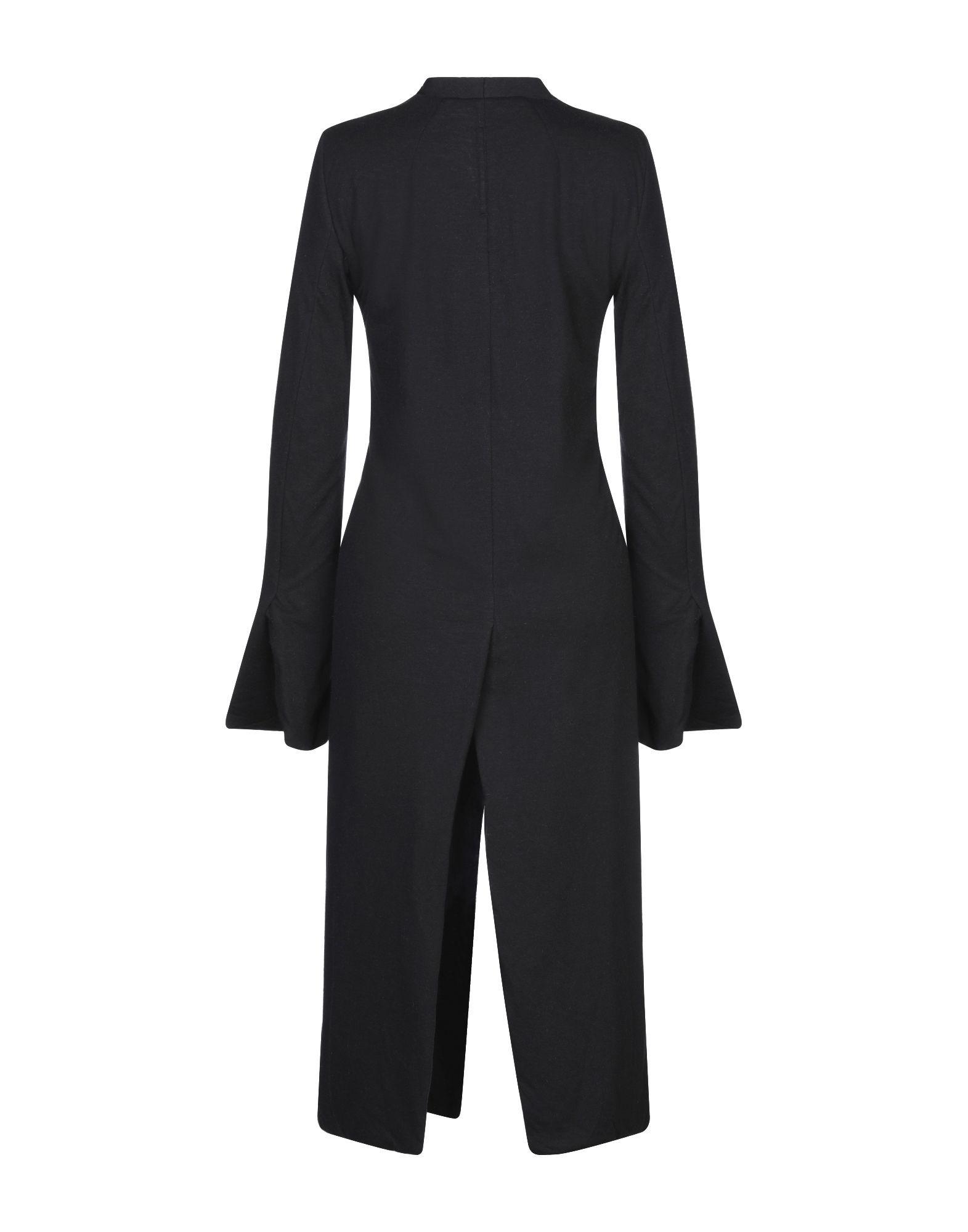 Rick Owens Black Flare Sleeve Wrap Coat