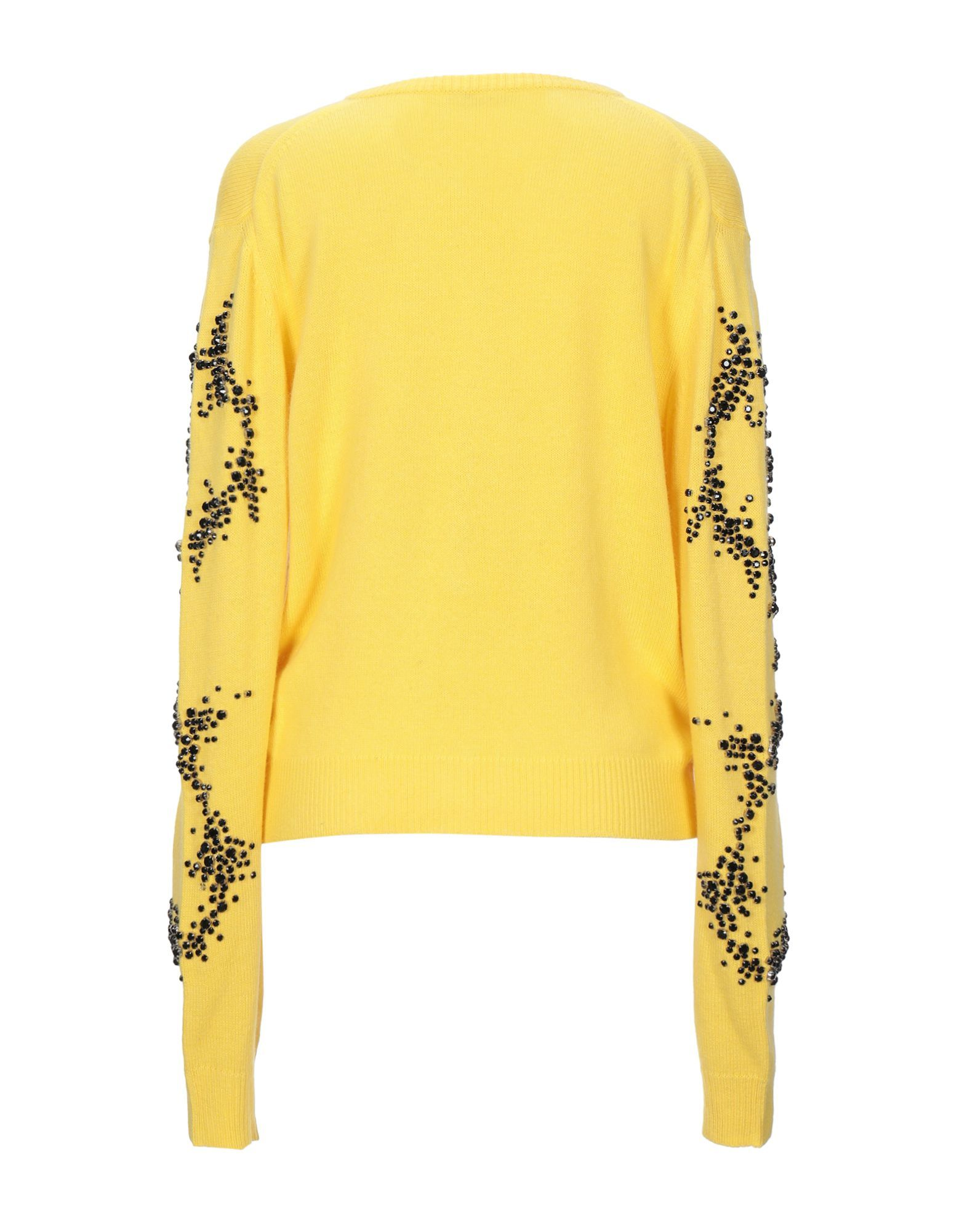 The Attico Yellow Wool Embellished Cardigan