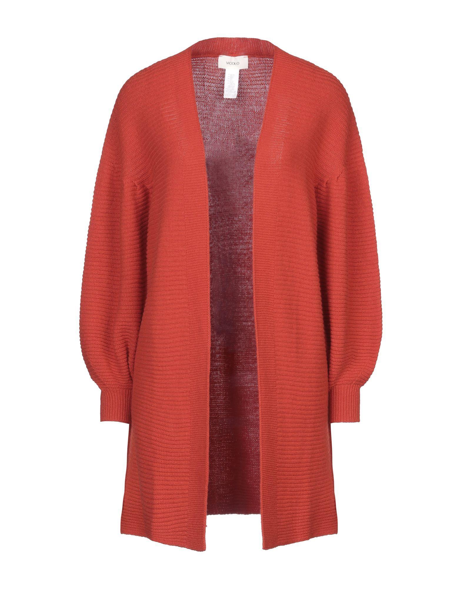 Vicolo Orange Ribbed Knit Cardigan