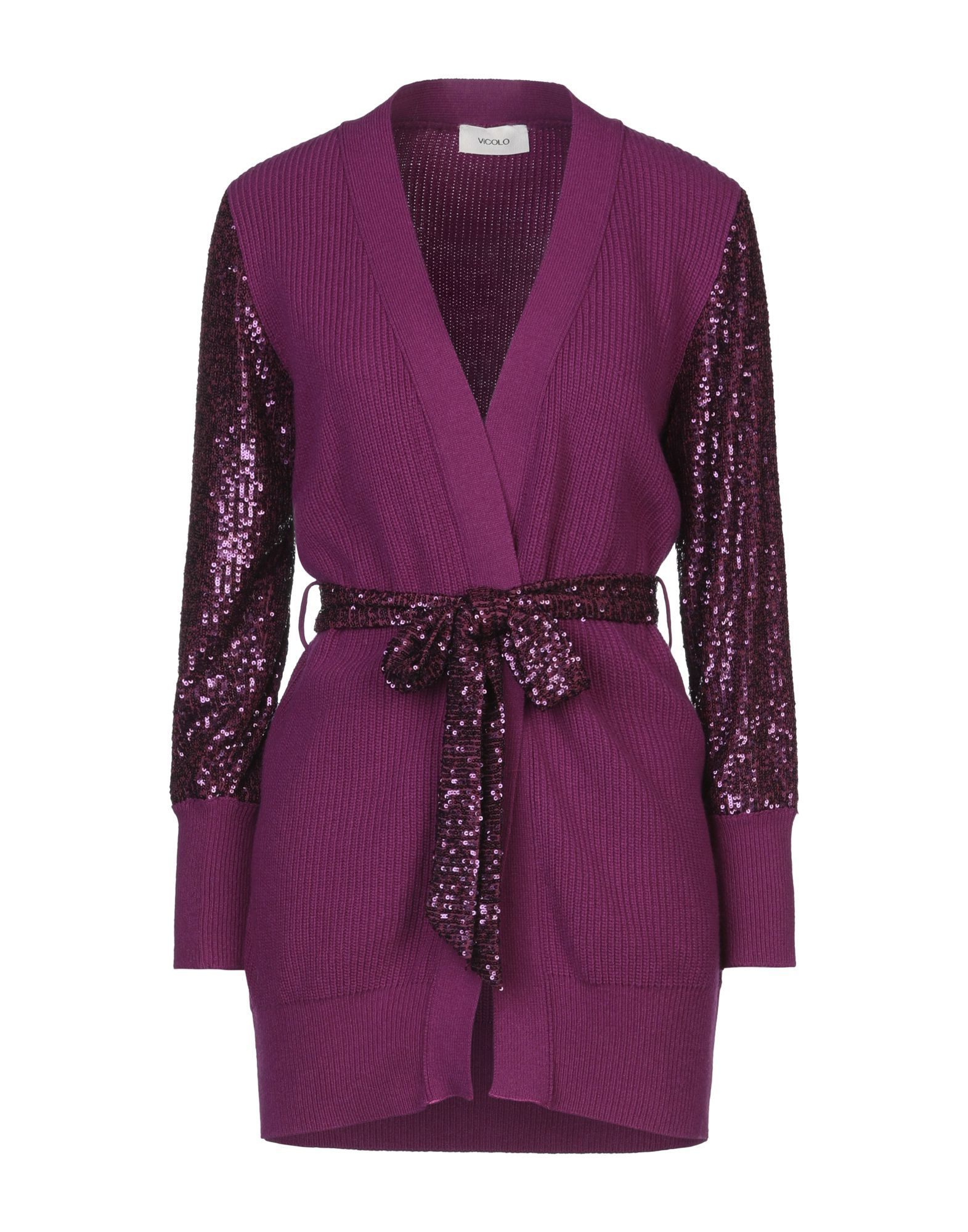 Vicolo Purple Knit Cardigan With Sequin Sleeves