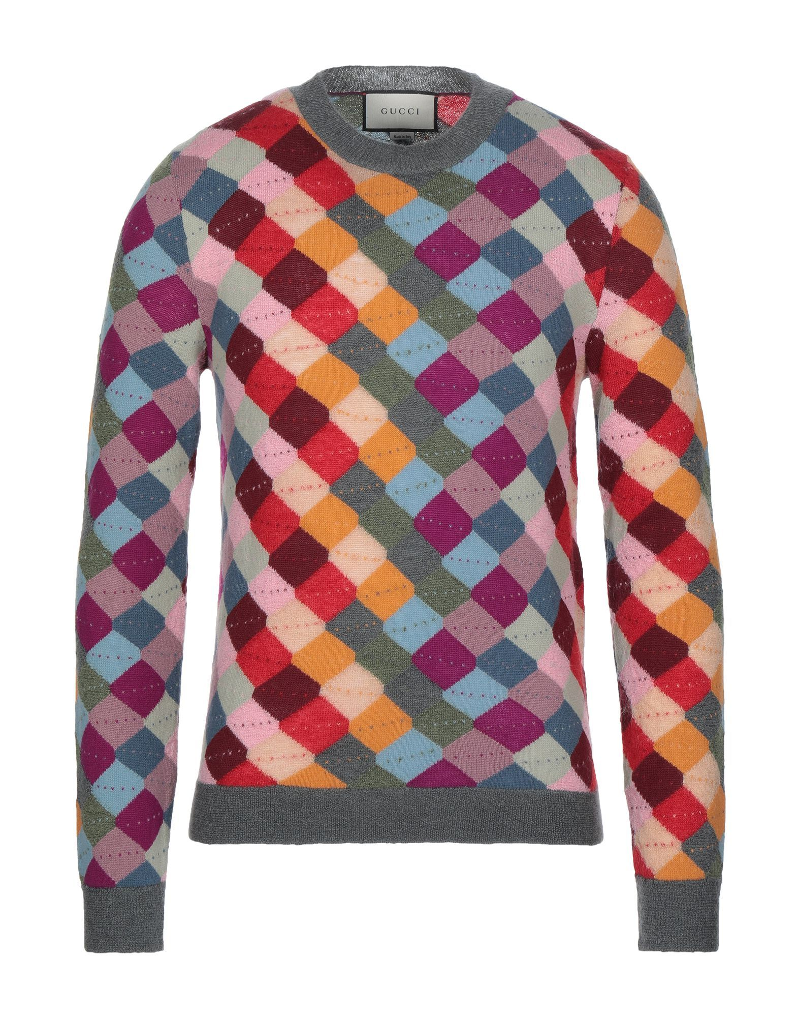 Gucci Ochre Geometric Design Mohair Wool Jumper