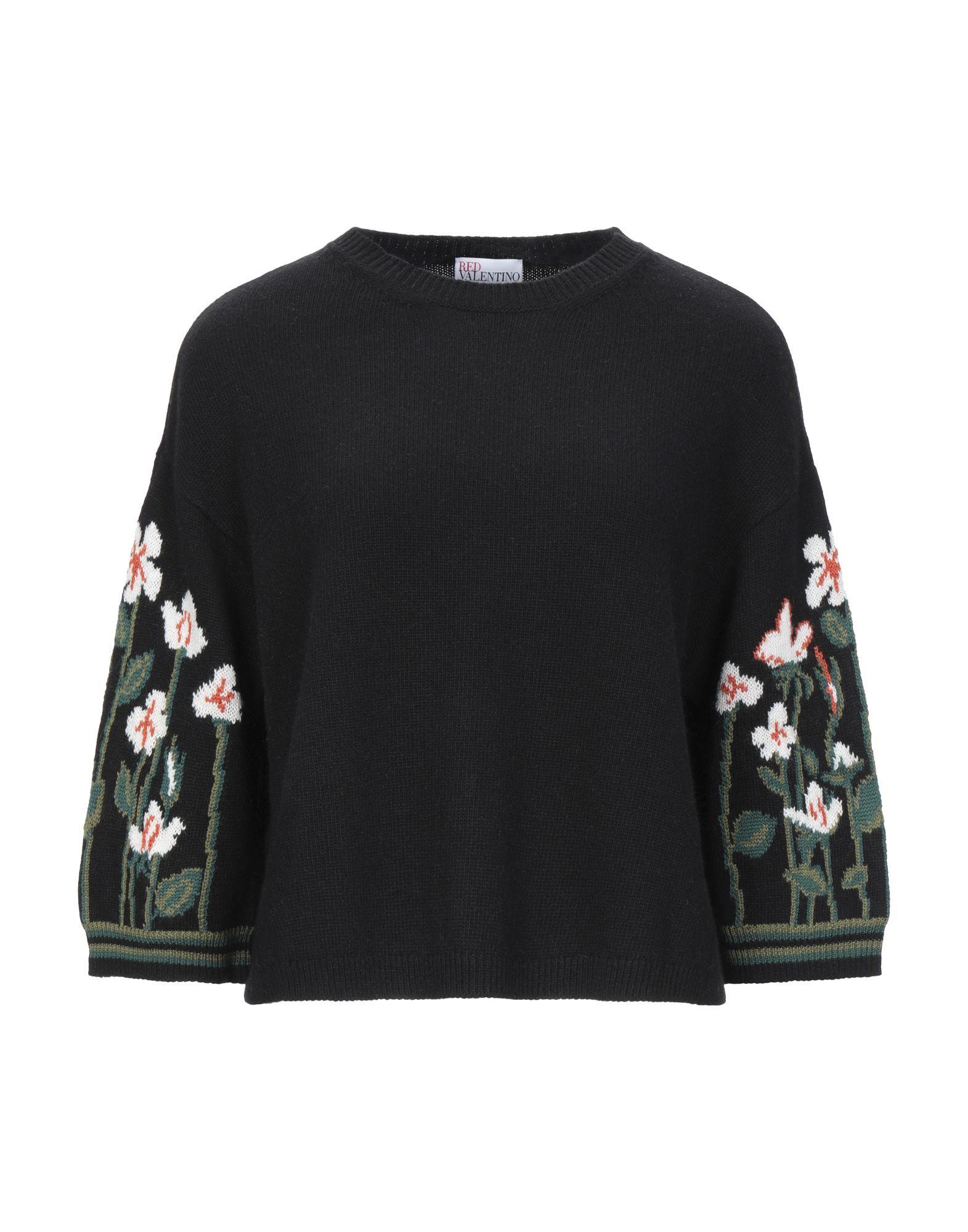 Redvalentino Black Wool Floral Design Jumper
