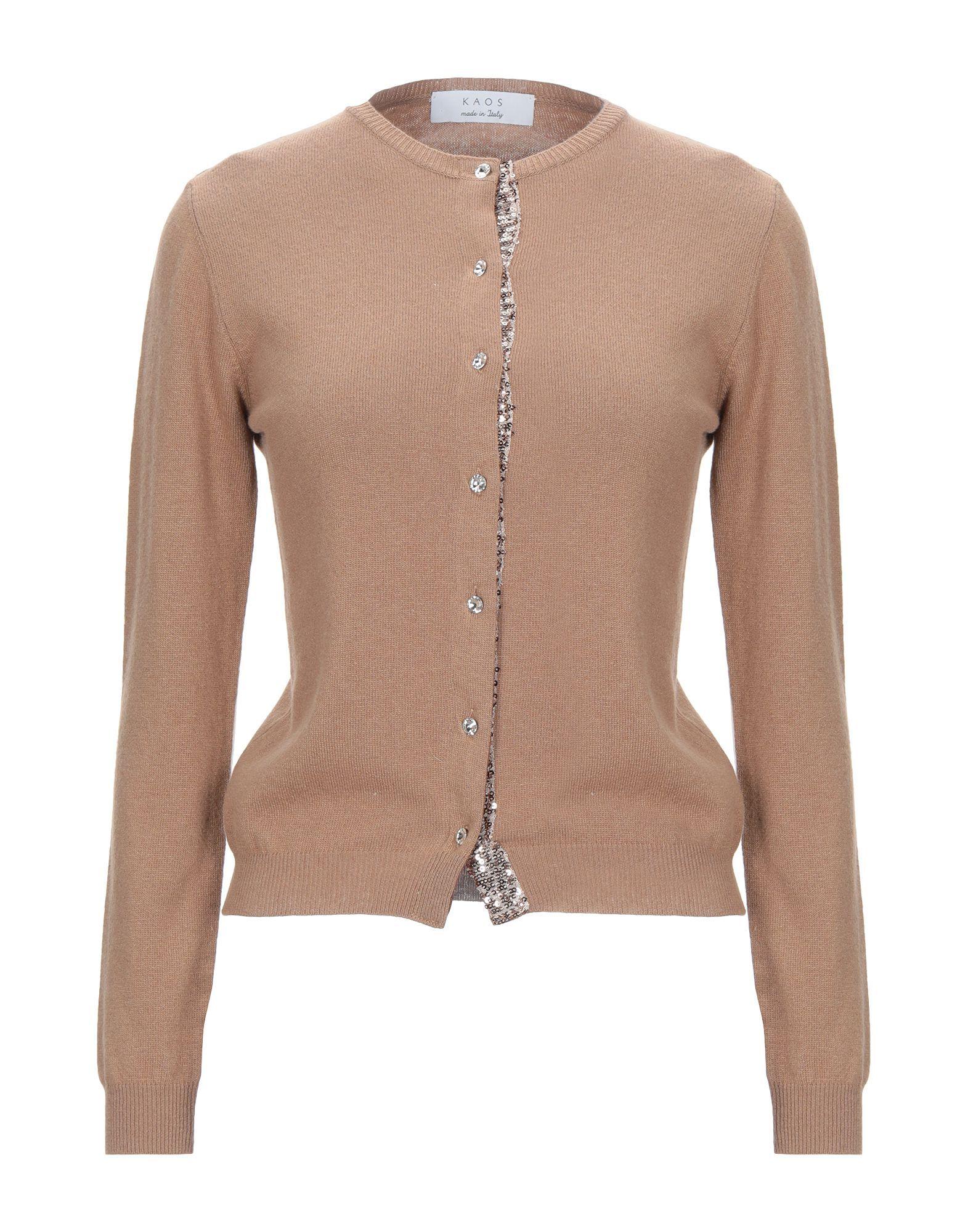 Kaos Camel Lightweight Knit Sequinned Cardigan