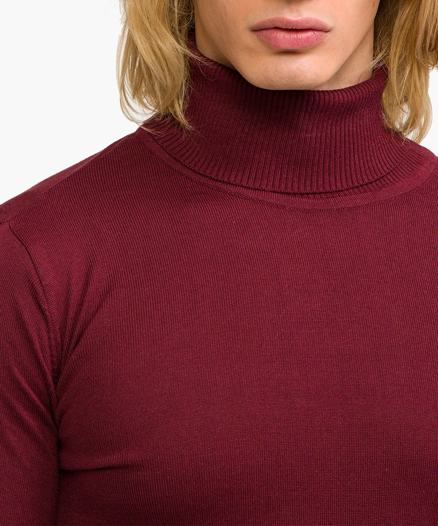 Bordeaux cotton blend high-neck jumper