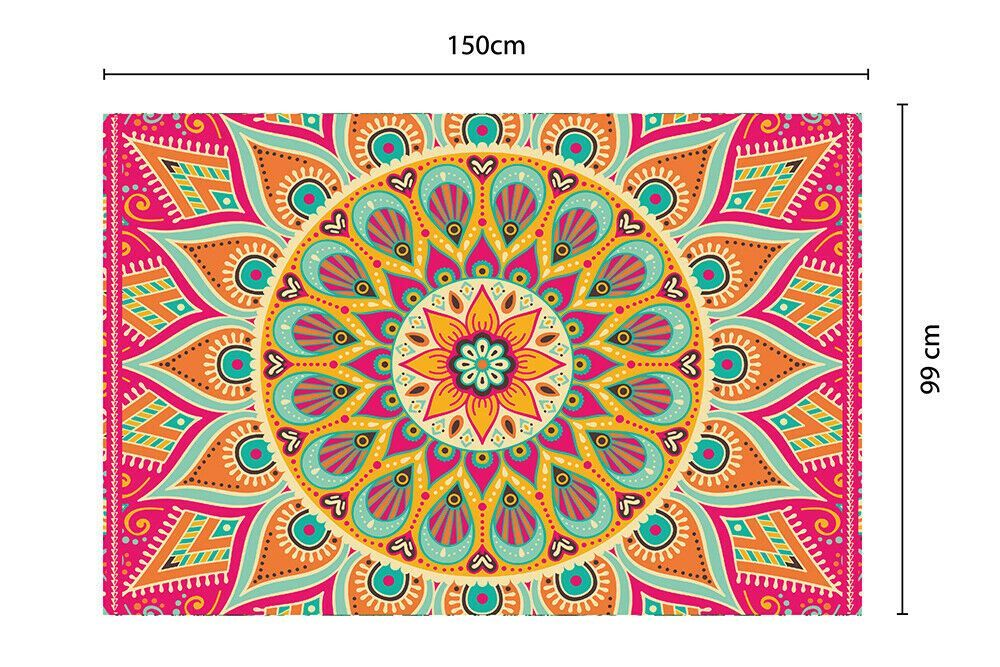Colourful Sunburst Mandala Mat 150 x 99 cm Floor Mats, Floor Rugs