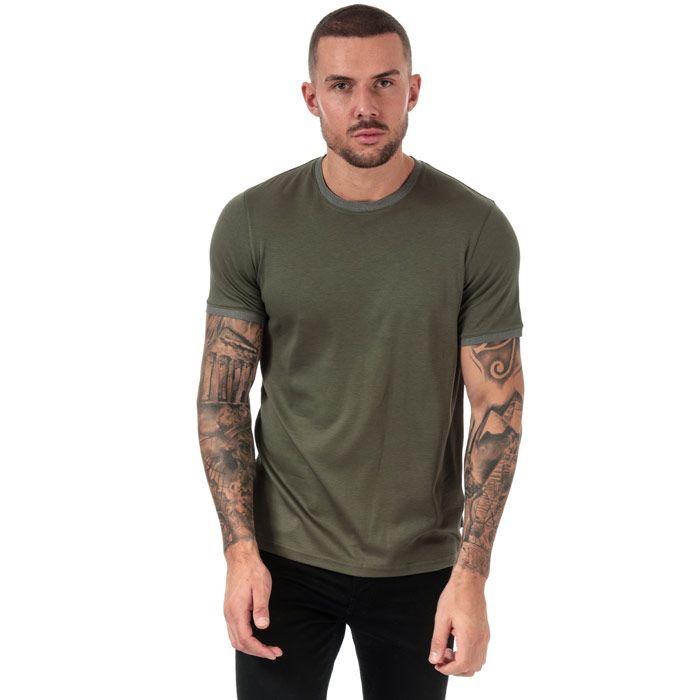 Men's Ted Baker Freygg Crew Neck Cotton T-Shirt in Khaki