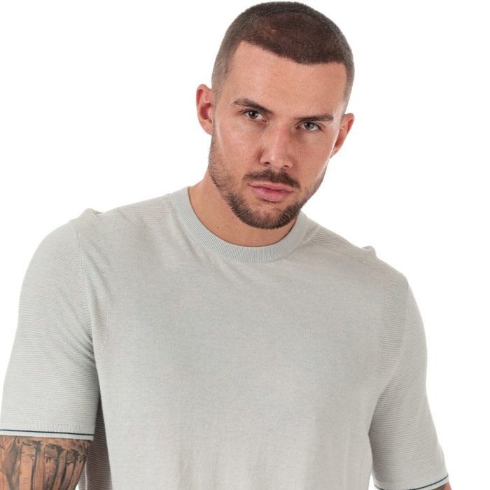Men's Ted Baker Velk Knitted Crew Neck T-Shirt in Light Grey
