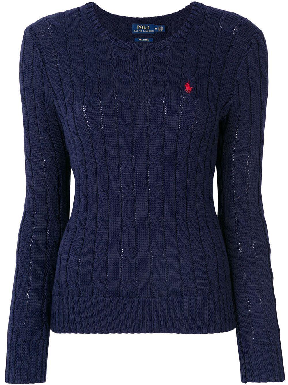 RALPH LAUREN WOMEN'S 211580009007 BLUE COTTON SWEATER