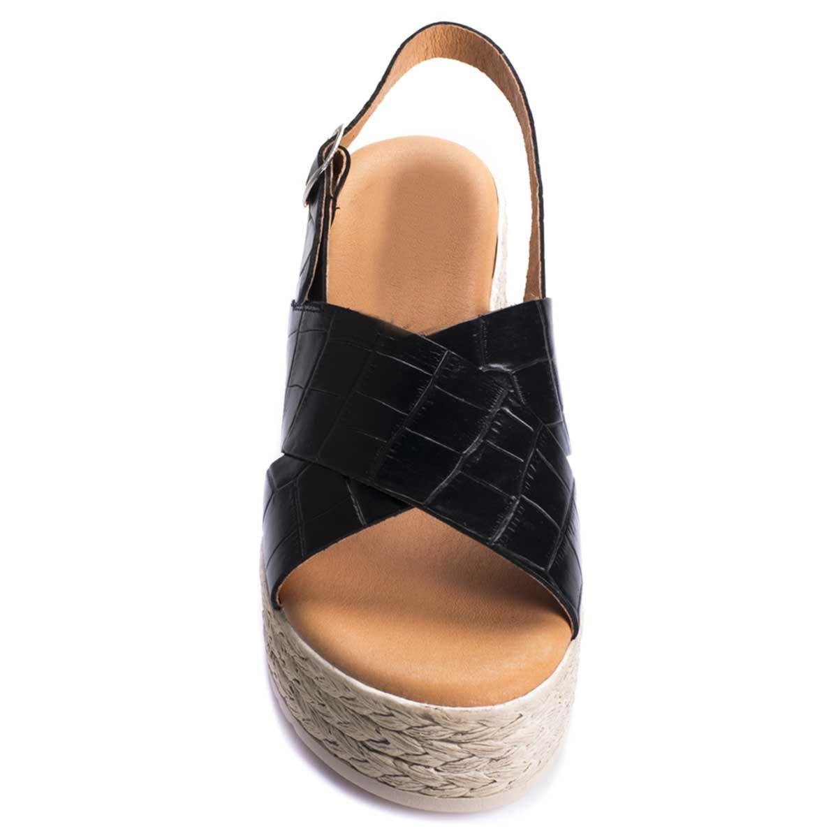 Purapiel Platform Sandal in Black