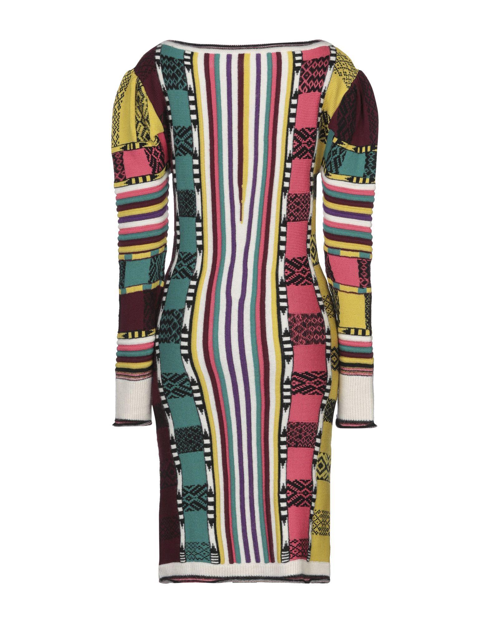 Etro Ochre Multicolour Pattern Wool Knit Long Sleeve Dress
