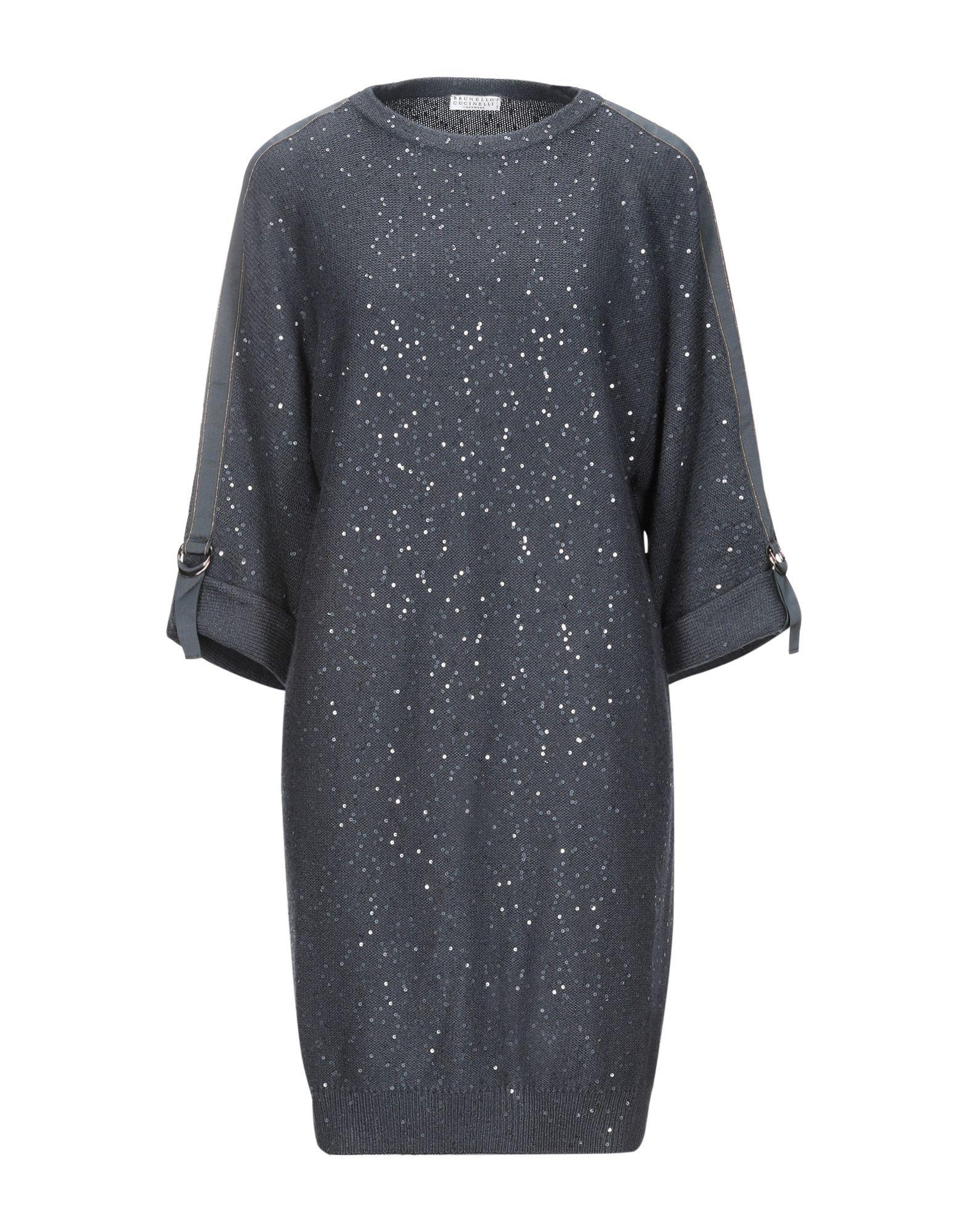 Brunello Cucinelli Dark Blue Cashmere Sequinned Dress