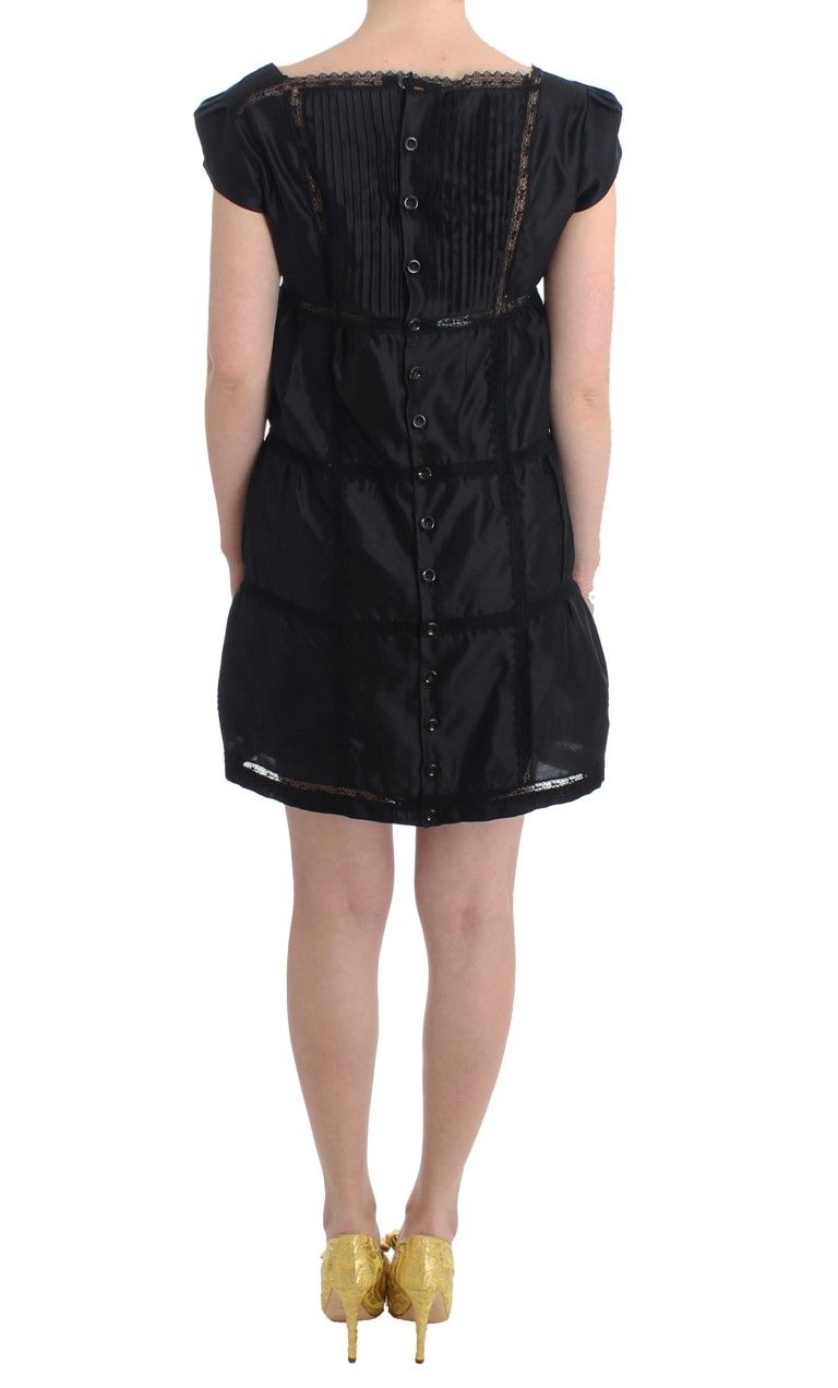 Ermanno Scervino Black Shift Sheath Dress Short Sleeve