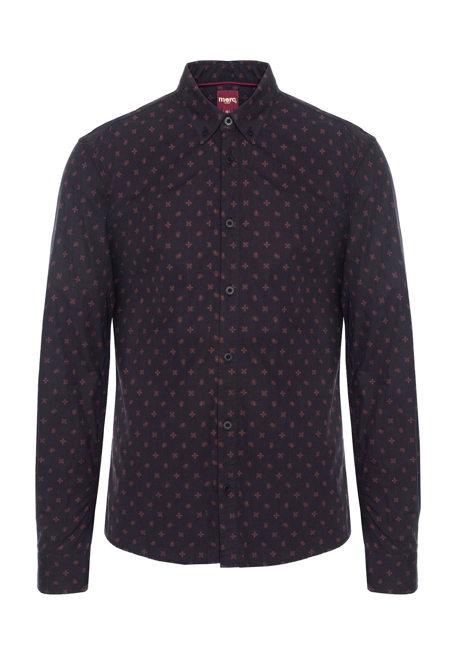 Worple Mens Long Sleeve Cotton Shirt With Geo Print In Black